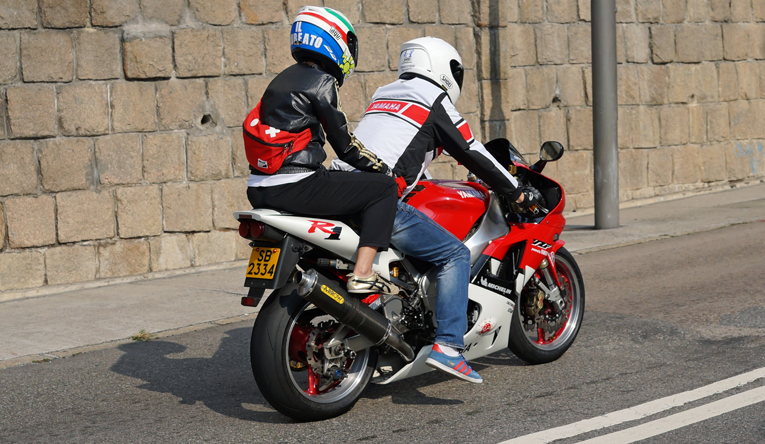Of much more interest to me is the bikers who are also out in force on a Sunday although this looks a little uncomfortable for the young lady on the back...