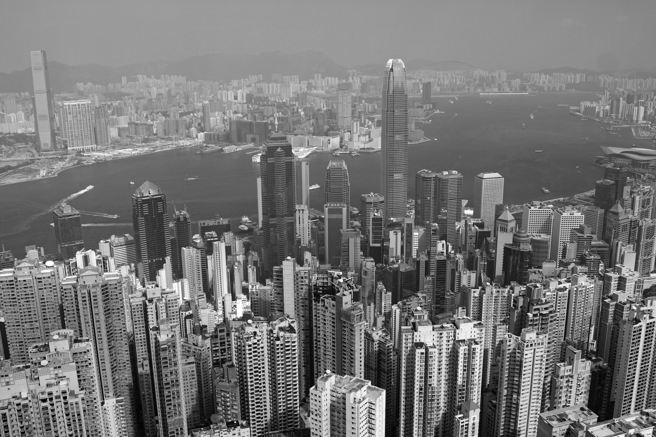 I am not a fan of black and white images.. ut every now and then it is fun to see one, so here is one from my spot at the Peak on a somewhat hazy day.