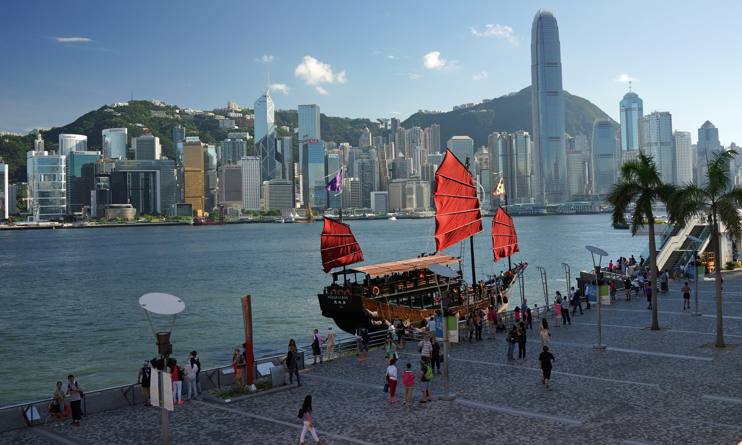 This is my favourite image of the iconic Aqua Luna fishing junk which putters around the harbour day and night... it was a lovely clear day and just look at the view of Hong Kong Island!! ...