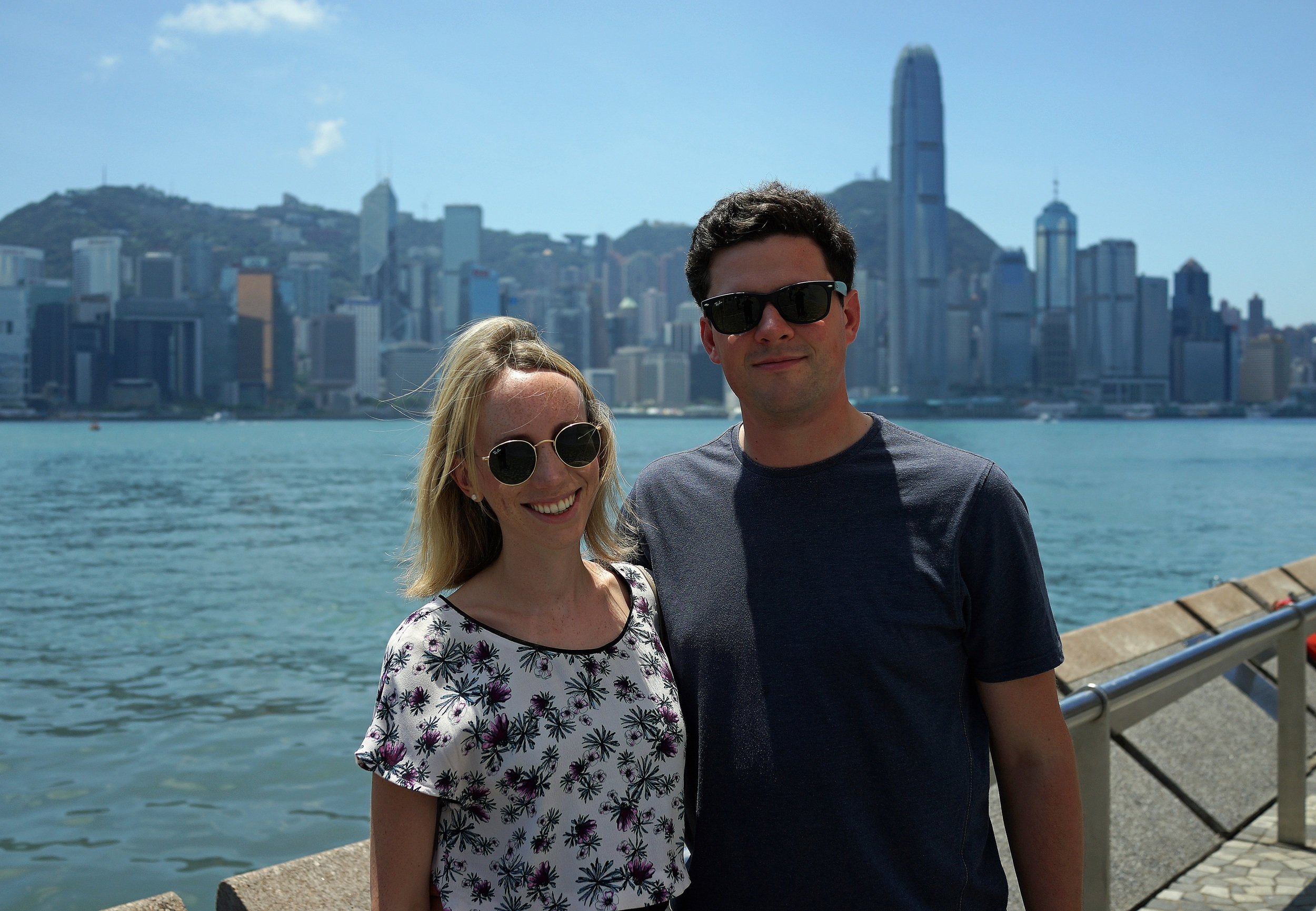Ceci and Rory from the UK enjoying the awesome view of Hong Kong Island from TST Promenade. -