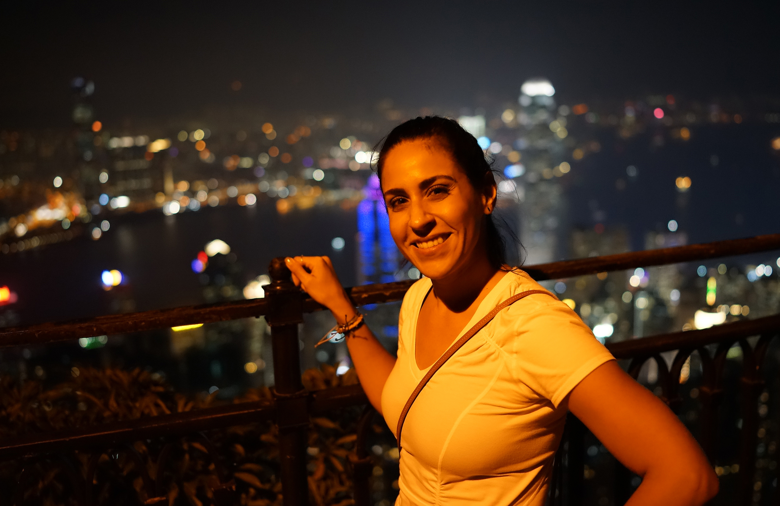 Vinessa enjoying the remarkable view of Hong Kong at night from the Peak