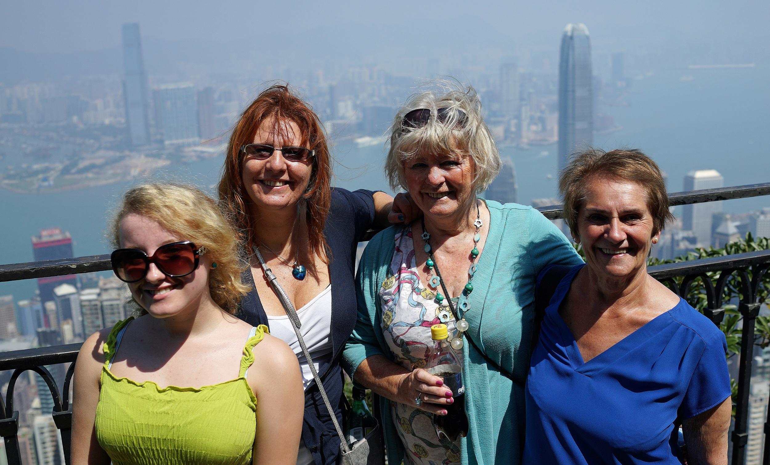 Meet Debra, Debra's Mum, Debra's daughter Isobel and Debra's Mum's friend Doreen enjoying the amazing views from my spot at the Peak, ladies, it was a pleasure!