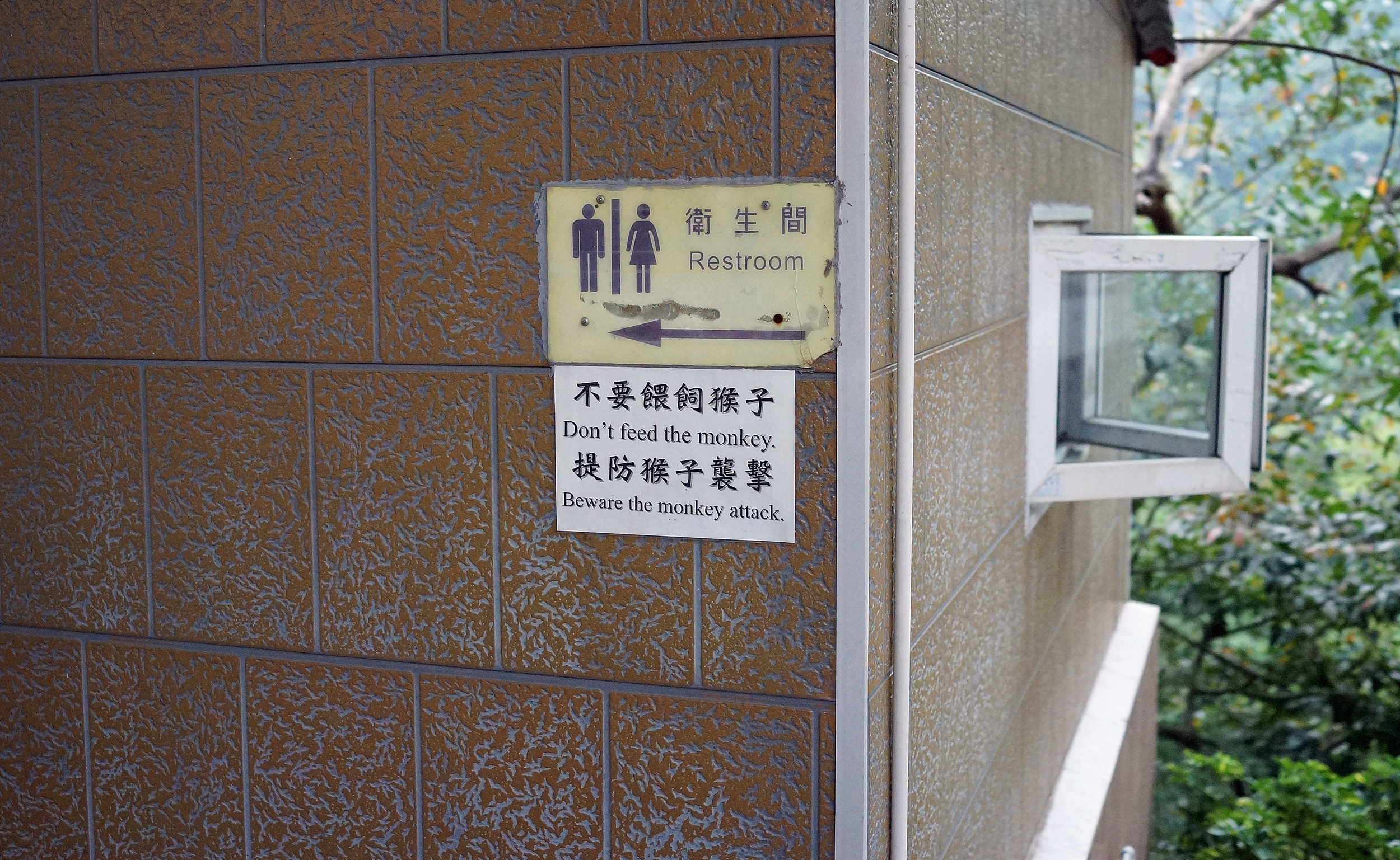Still one of the funniest signs you can see in Hong Kong at the bathrooms at the 10,000 Buddha Monastery in Shatin! as if going to the bathroom in a jungle setting is not stressful enough!