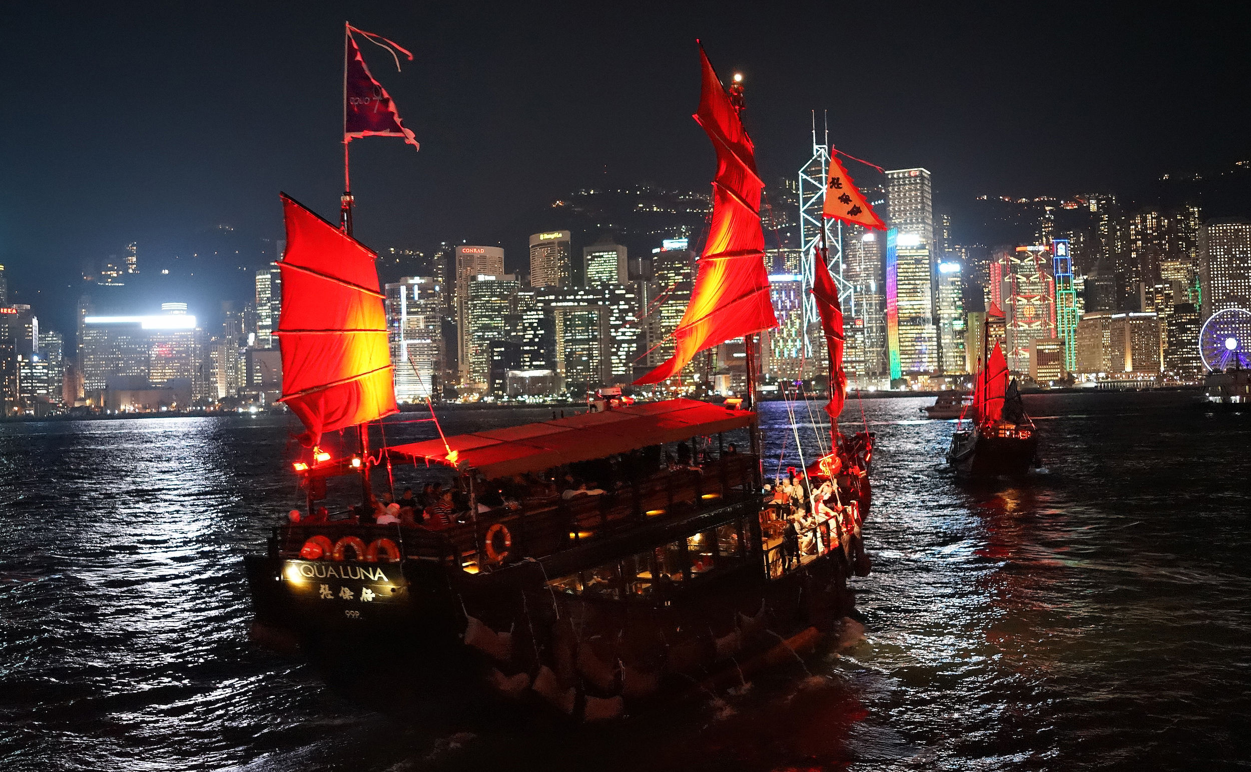 I would heartily recommend an evening cruise on the Aqua Luna an old converted Chinese Fishing Junk, it is pretty amazing..