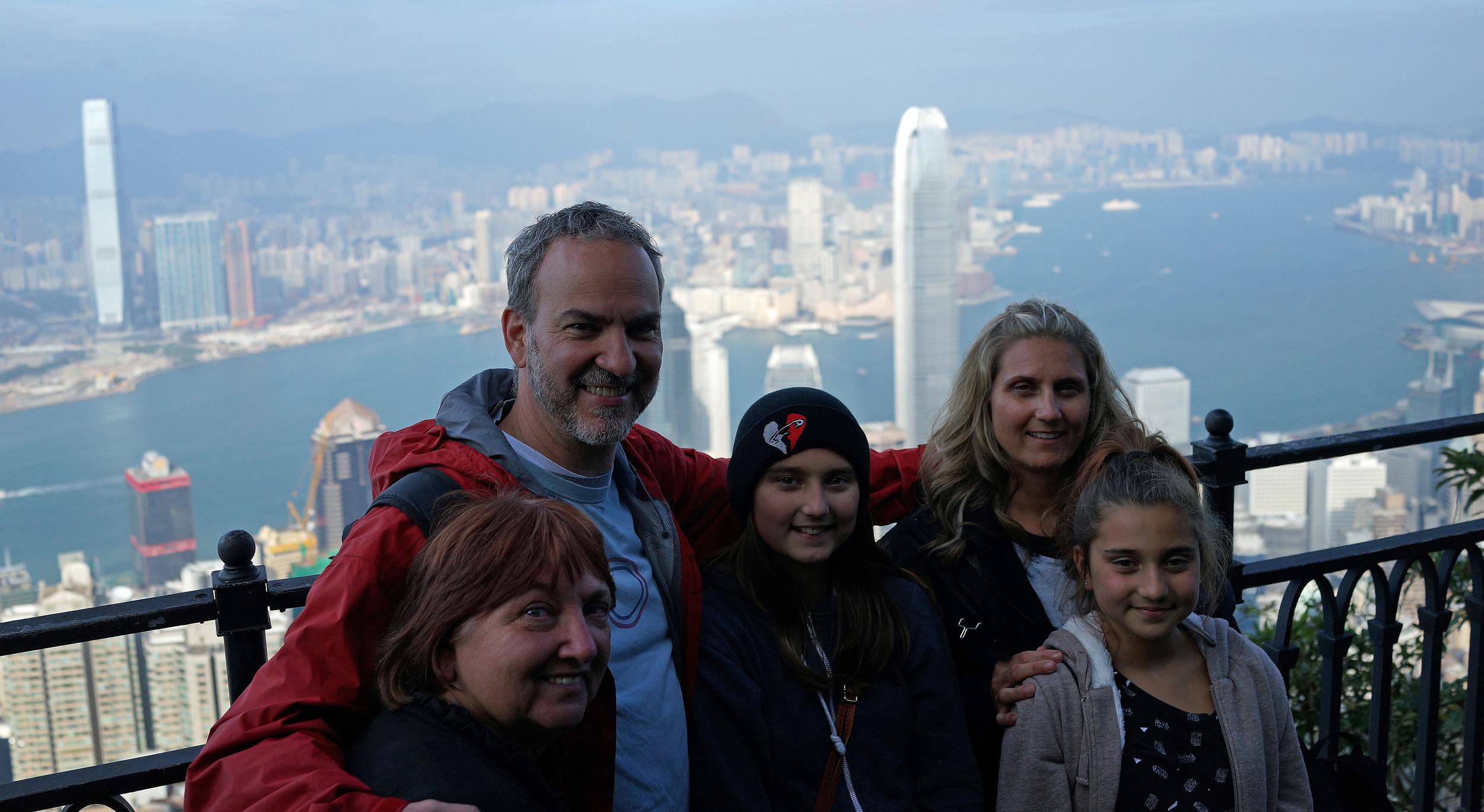 Dana, David, Mum and the girls enjoying the staggering views from my spot at the Peak