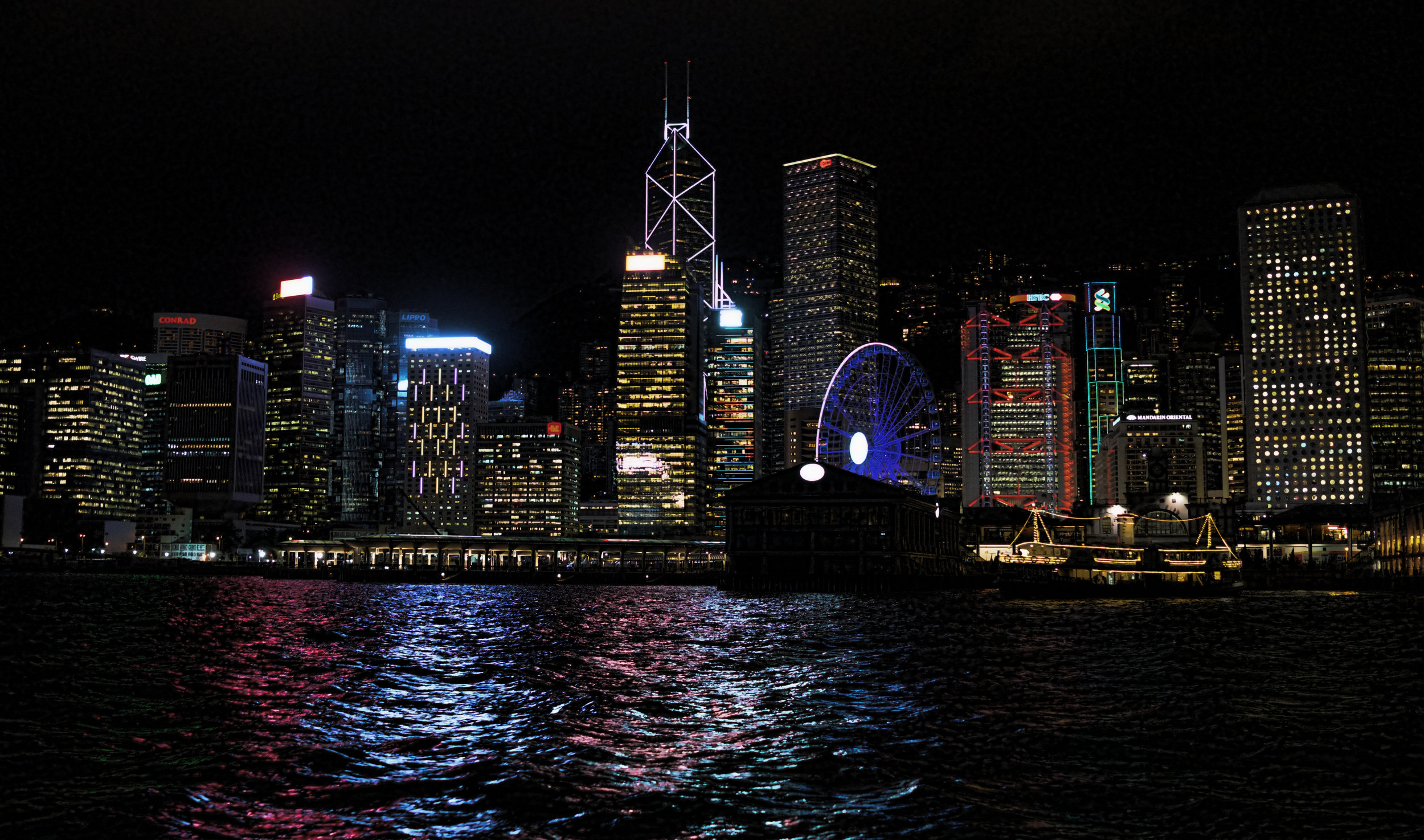 Hong Kong Island at night from the Star Ferry in Hong Kong Harbour