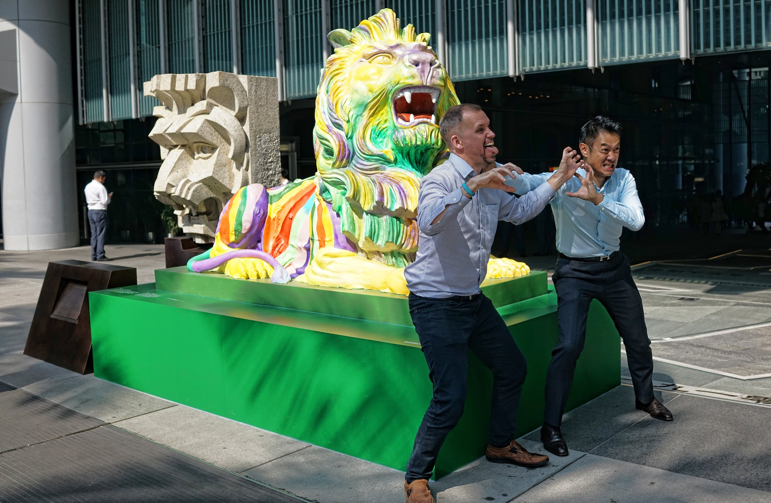 The LGBT Lions at HSBC Hong Kong headquarters with a couple of employees going a bit daft... the Lions have certainly caused a bit of a stir in a very conservative Hong Kong.