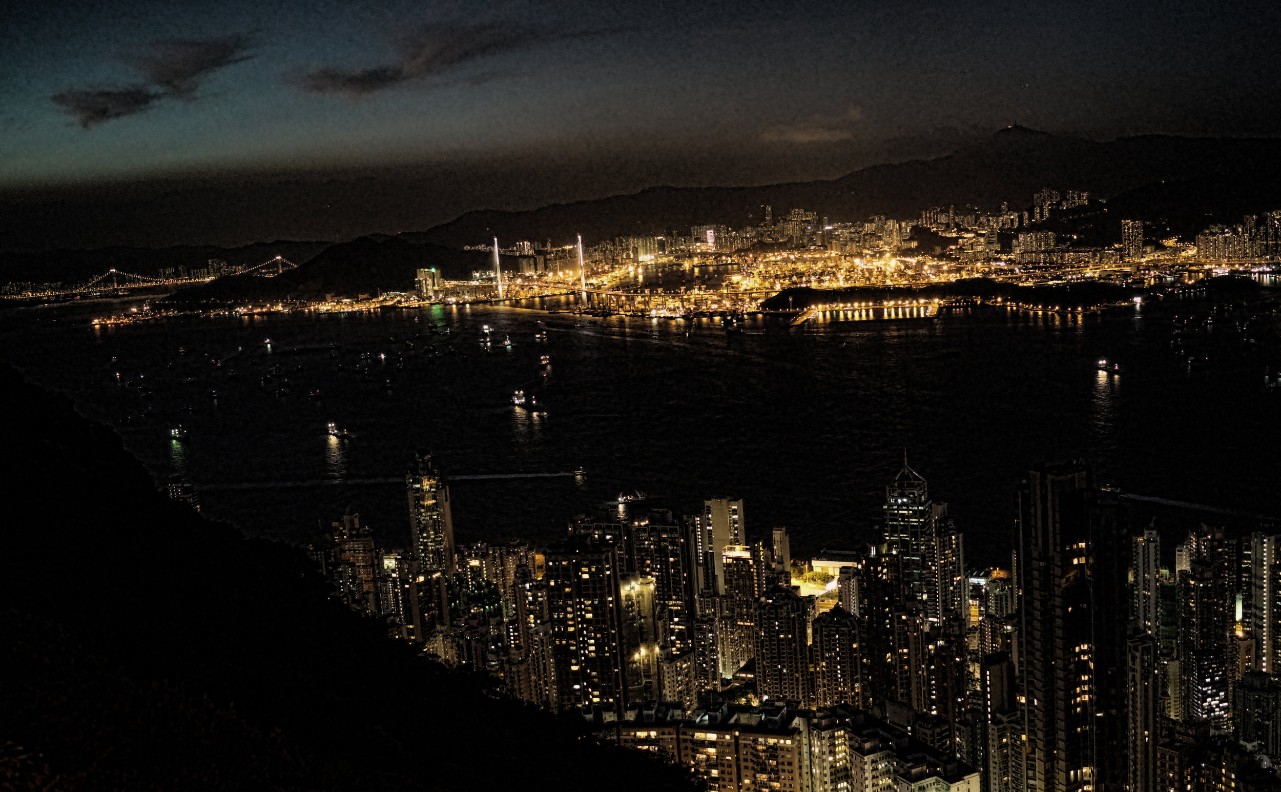 Hong Kong is rather special at night, here is a night shot taken from my spot at the Peak and the big golden glow is the Hong Kong port, the 5th largest in the world....