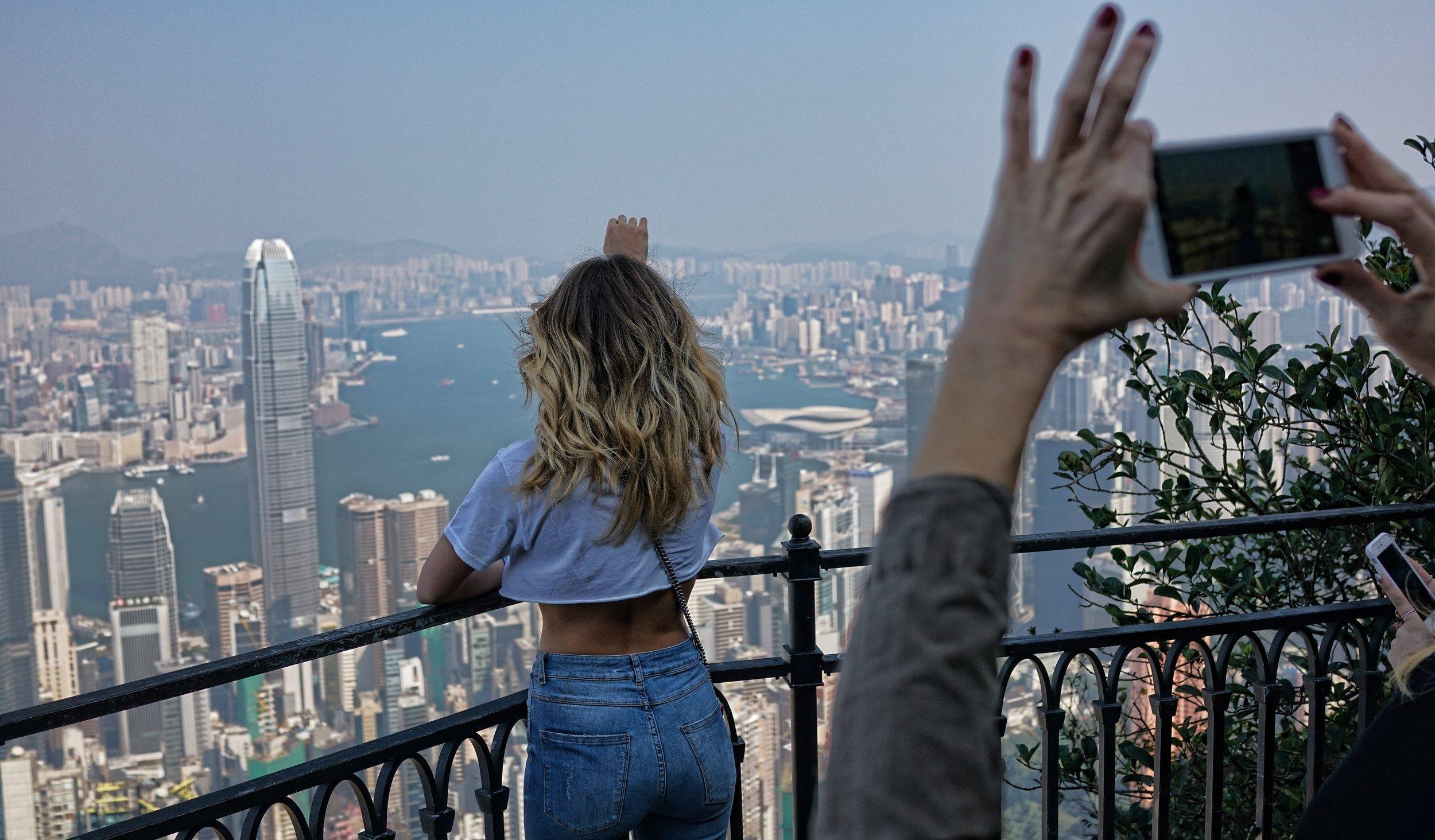 Hong Kong Airport Layover Transit Tours -  Sometimes the view from my famous spot at the Peak is just staggering, oh my - Olivia and the rest of her family loved it!