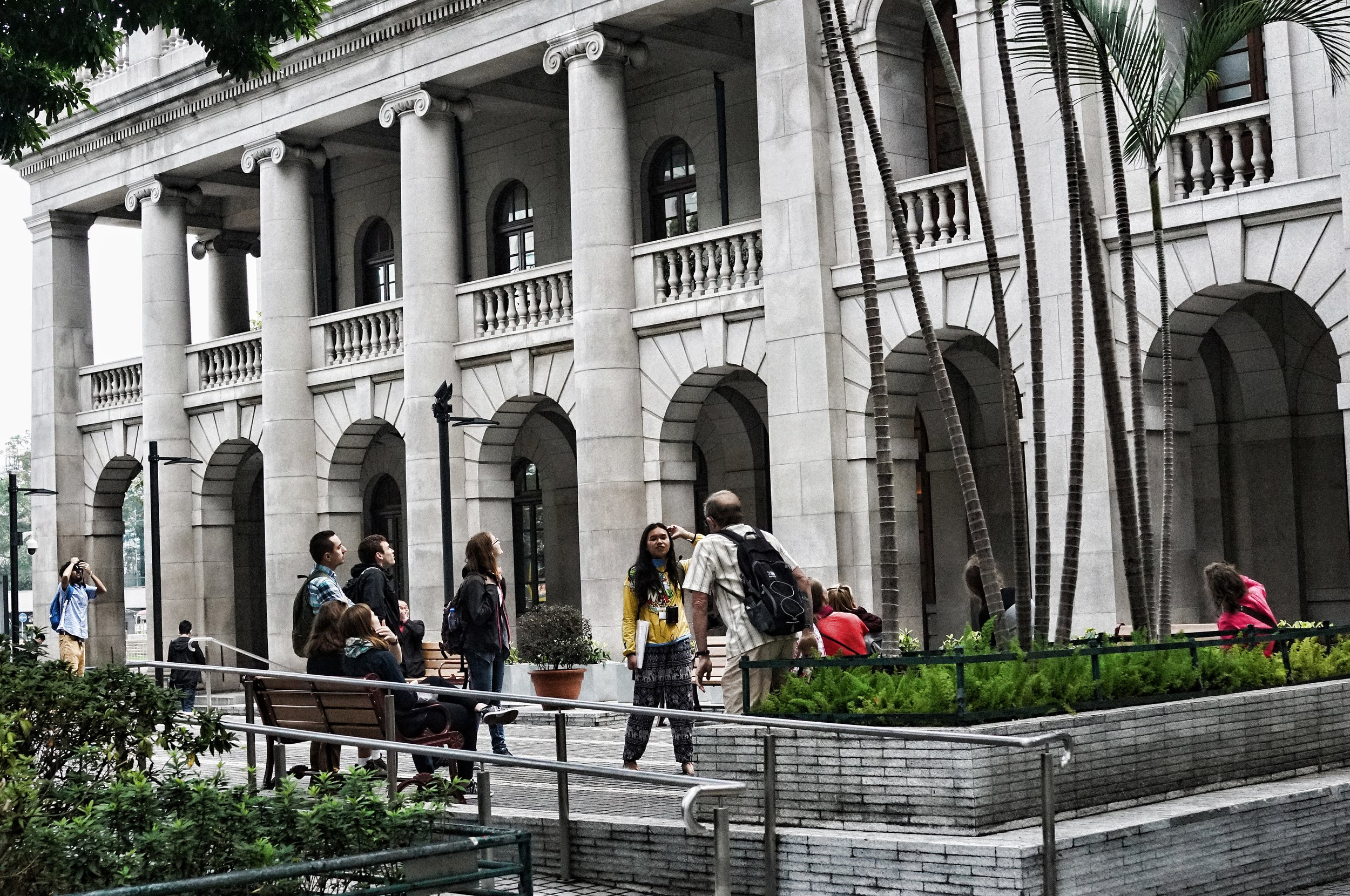The Free Tour group lurking in Statue Square in Central... my most popular tour is actually 2 people for 8 hours as opposed to 25 people on a 2 1/2 hour free tour... contact me for details on how you can book one of my premium private tours of Hong Kong.