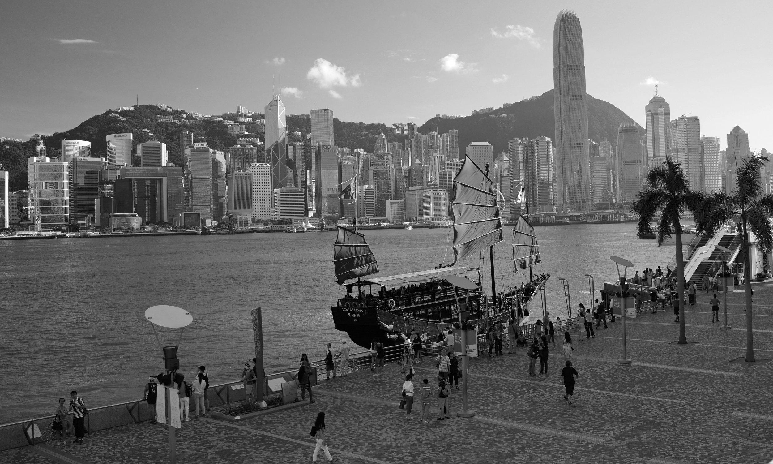 The Aqua Luna Junk at TST Promenade looking across to Hong Kong Island.jpg