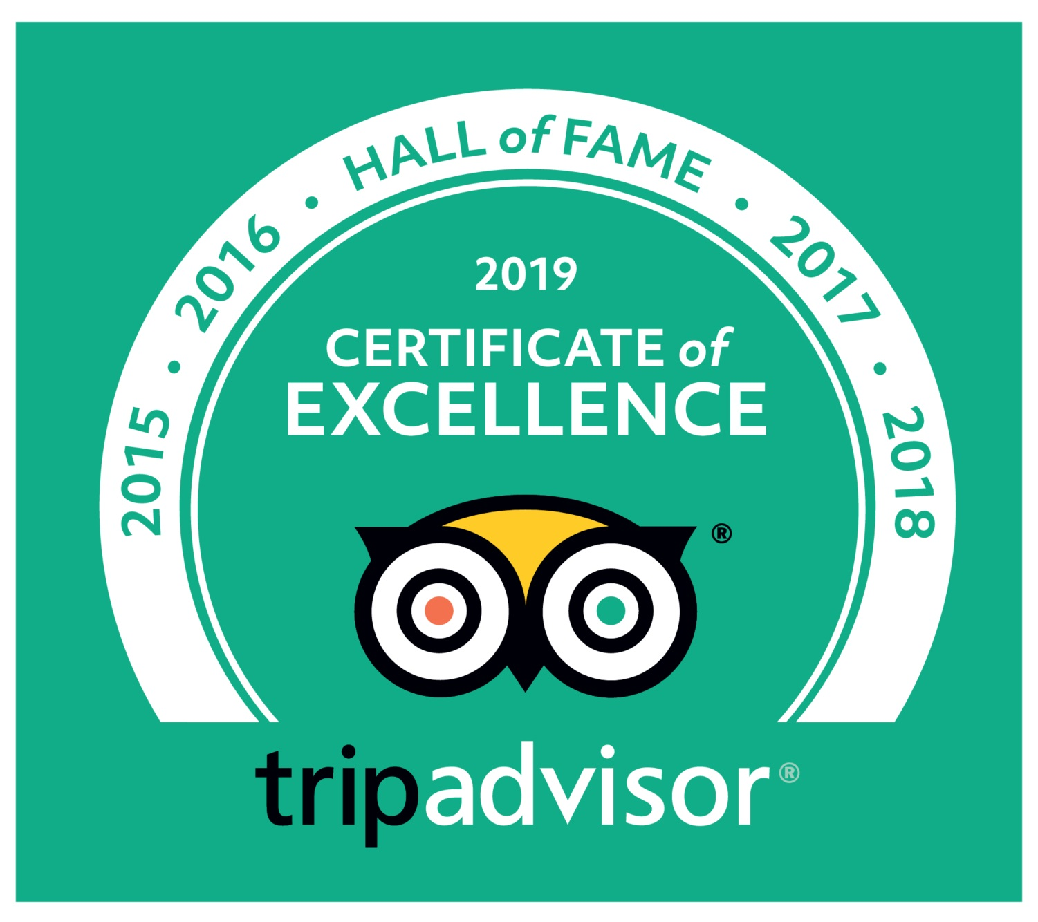 J3 Private Tours Hong Kong | Certificate of Excellence | 8 years in a row 2012 - 2019   -