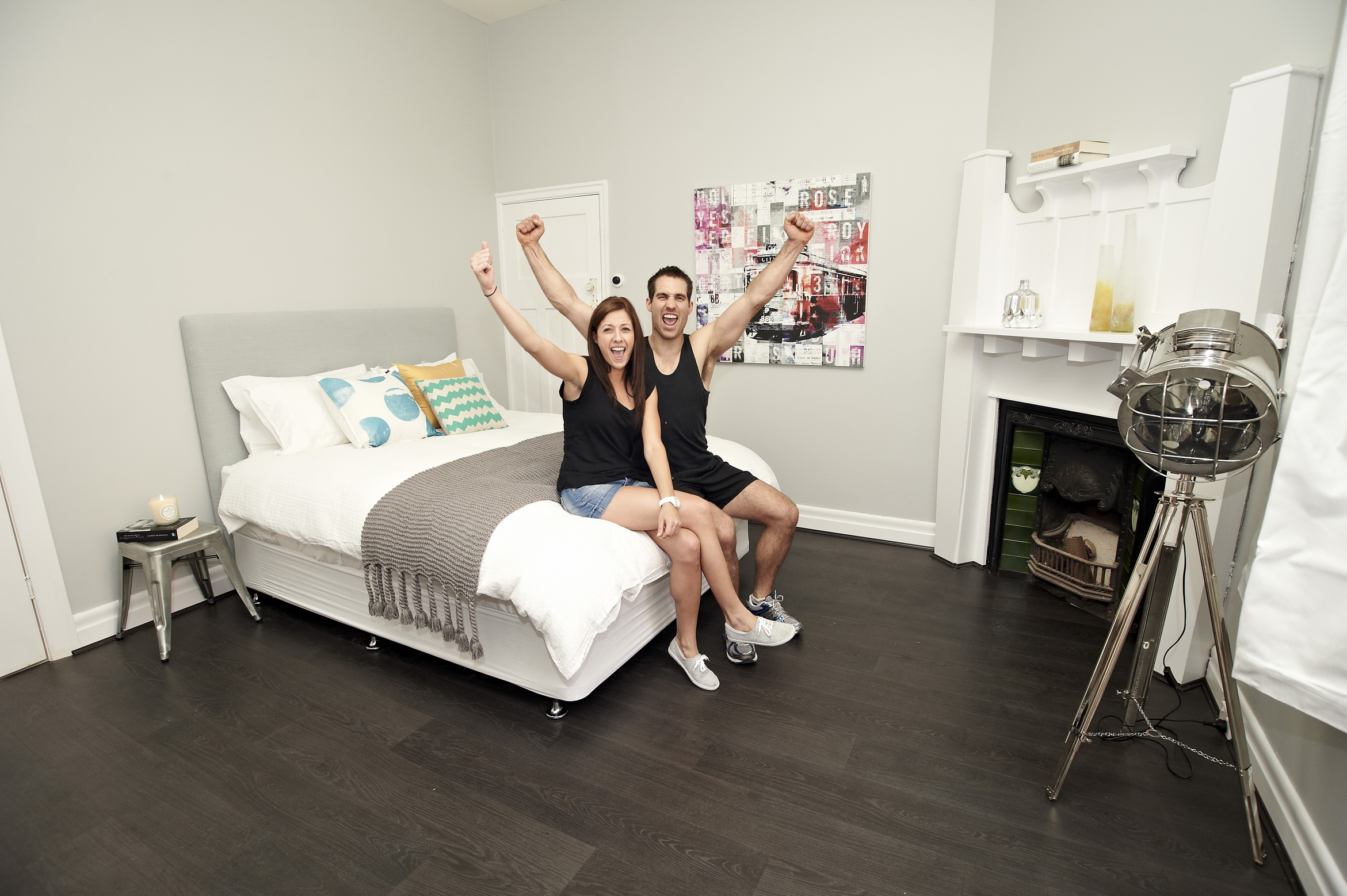 Dan and Danni celebrate their winning room on The Block 2012