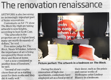 Great article about the importance of art featuring 'Lovin is Easy'. Herald Sun - Saturday, June 1, 2013