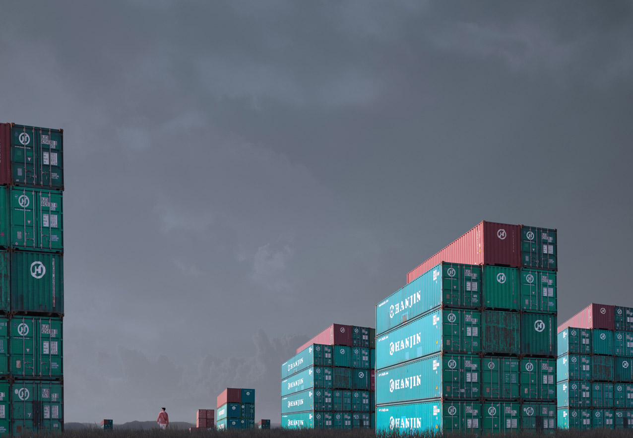 Container Stacks , 2013   Pigment print on archival rag  100 x 144.5cm  /Edition of 5 +2AP   Represented by  Otomys Arthouse