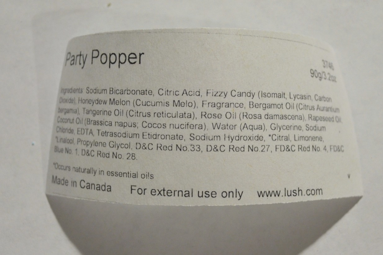 lush party popper ingredients