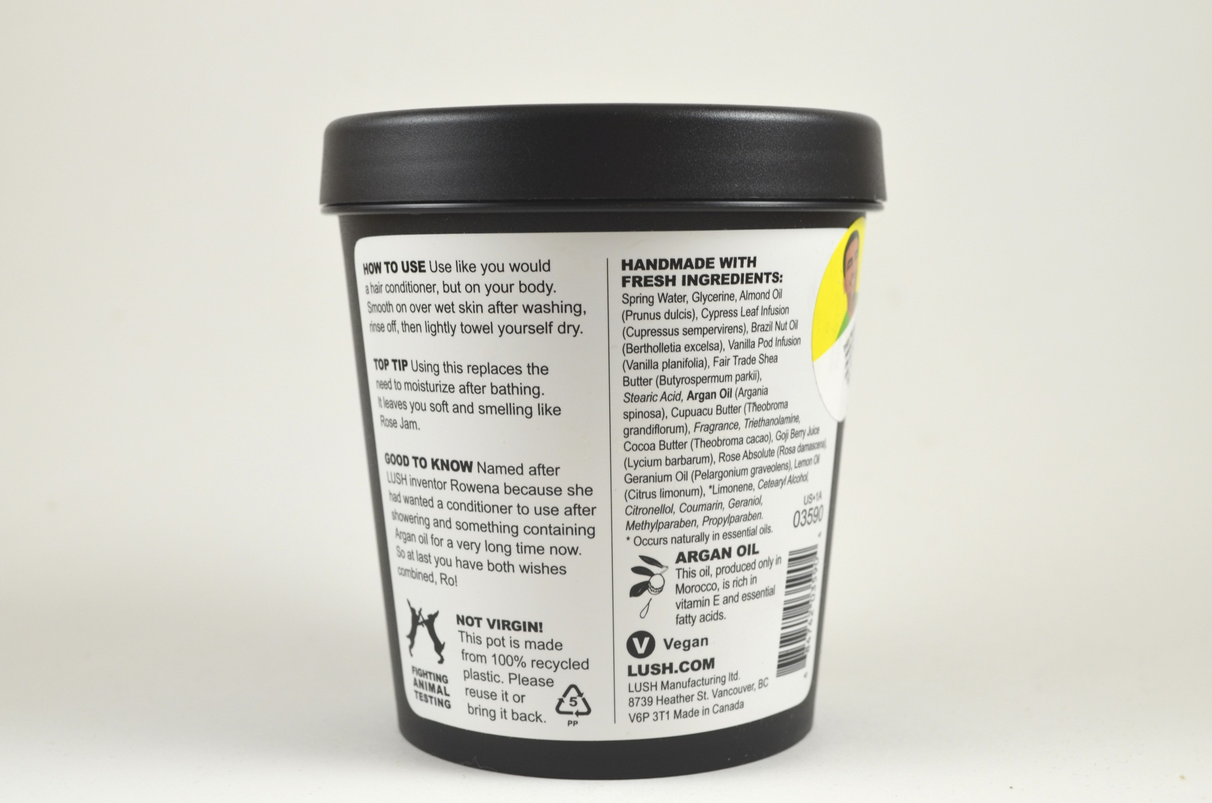 lush ro's argan body conditioner ingredients, instructions