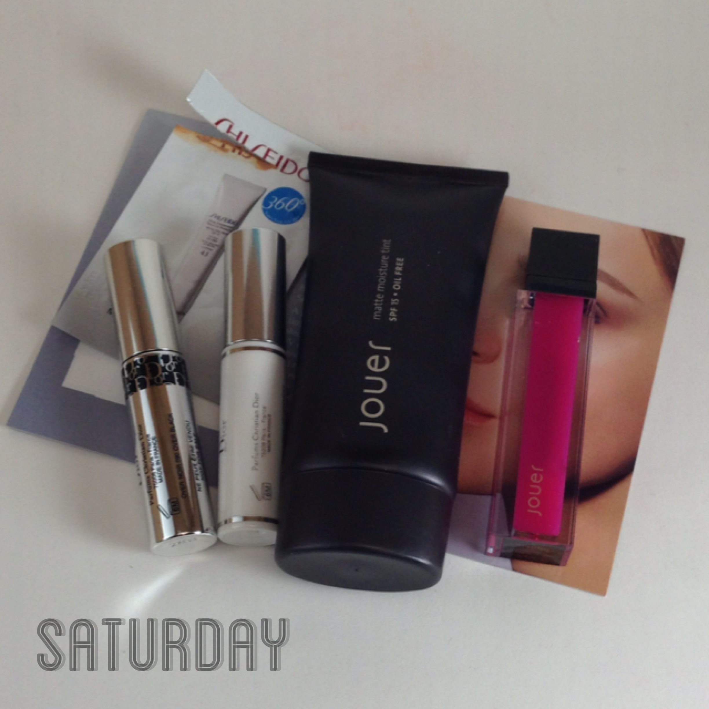 Shiseido Urban Environment Tinted UV Protector in Medium sample, Diorshow Iconic Overcurl, Diorshow Maximizer, Jouer Matte Moisture Tint in Chamomile, Jouer Moisturizing Lip Gloss in Malibu