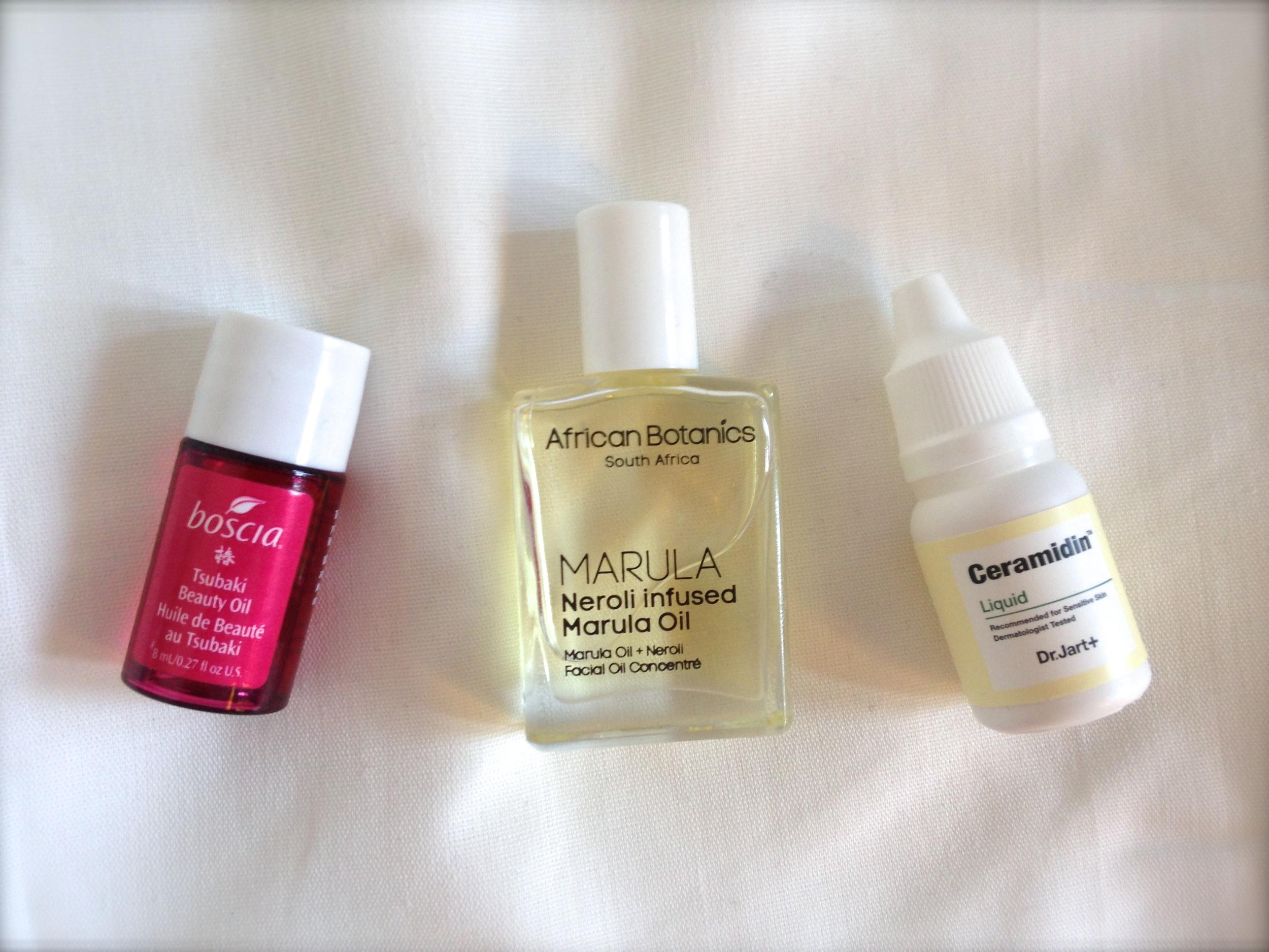 boscia tsubaki beauty oil review, african botanics neroli infused marula oil review, dr jart ceramidin liquid review