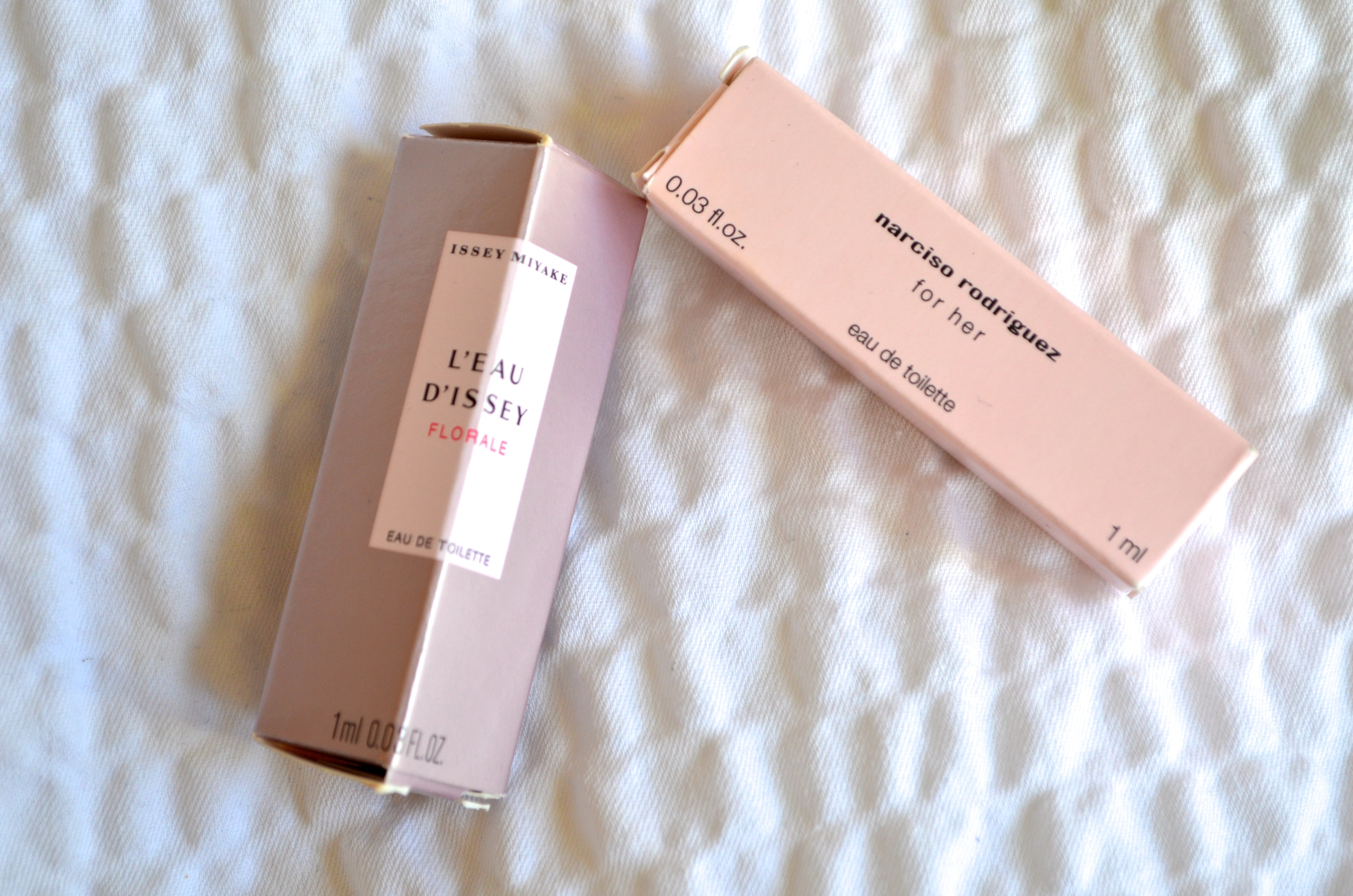 issey miyake l'eau d'issey florale review, narciso rodriguez for her review