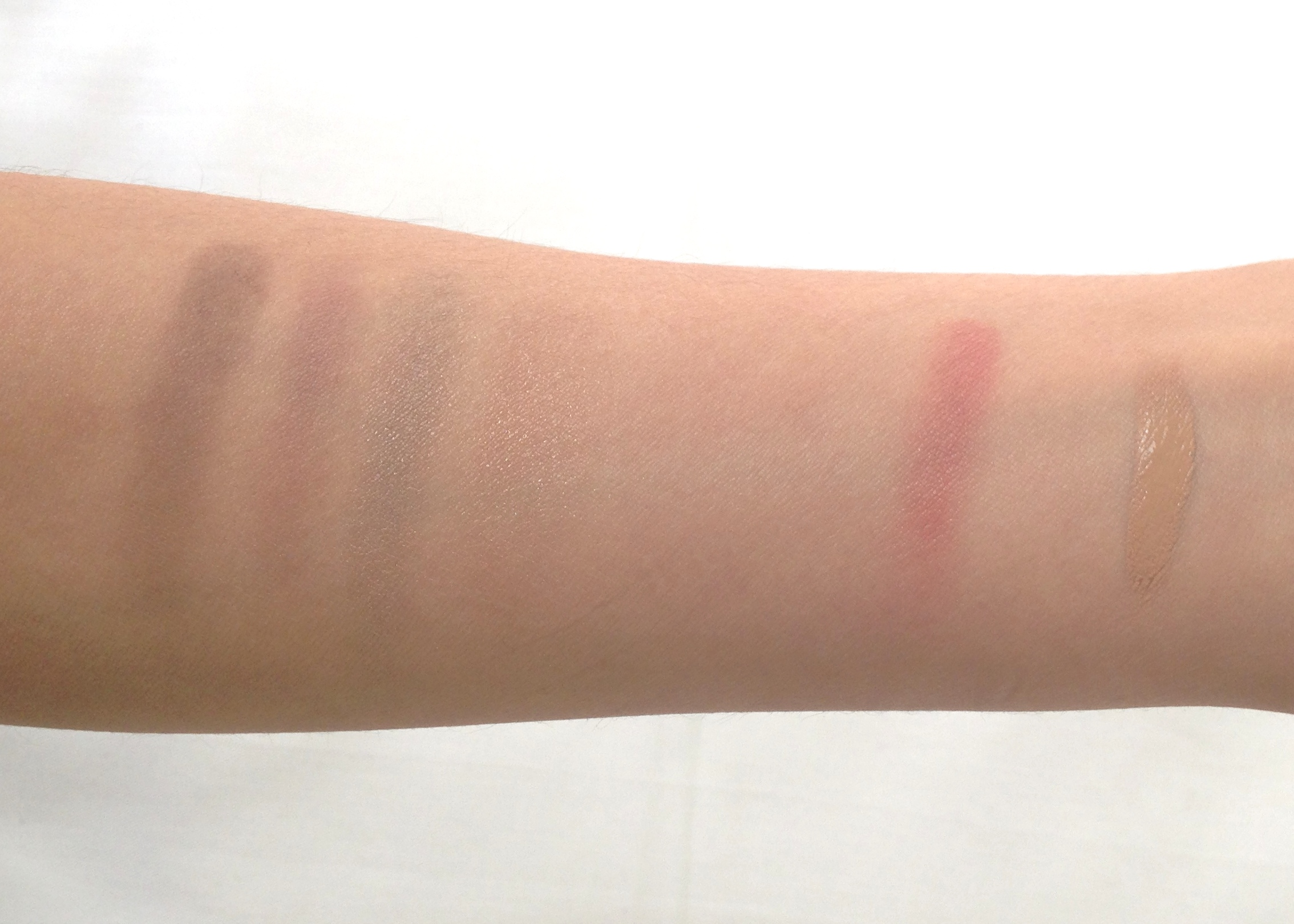 Swatches L-R: Burberry Pink Taupe, Bobbi Brown Pot Rouge in Pale Pink, Marcelle BB Cream in Medium to Dark