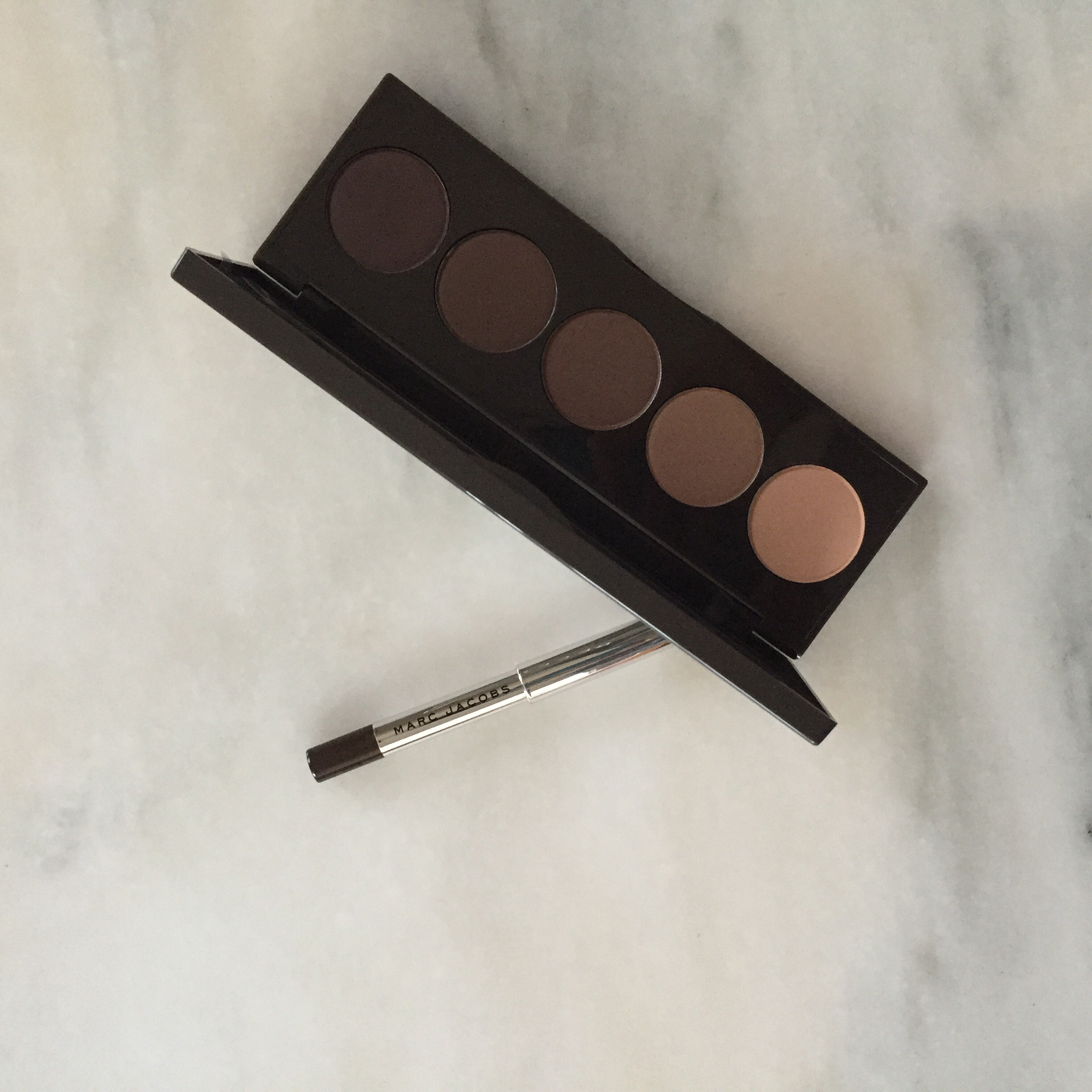 Day 1:    Marc Jacobs Highliner in Brownout and Becca Ombre Nudes Eyeshadow Palette