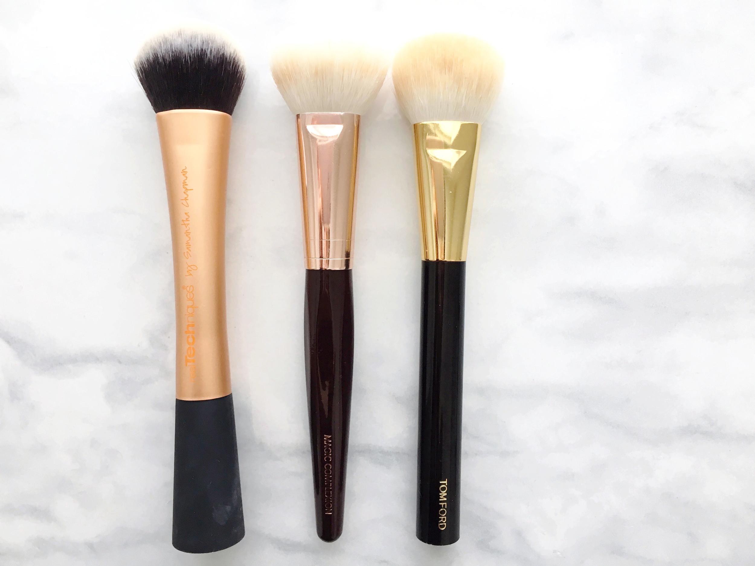Real Techniques Expert Face Brush, Charlotte Tilbury Magic Foundation Brush, Tom Ford Cream Foundation Brush