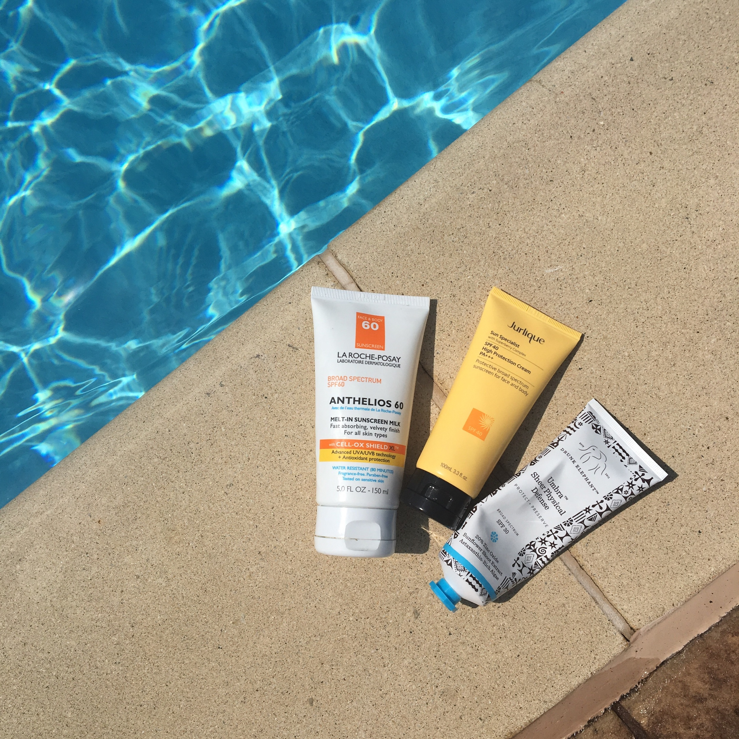 La Roche Posay Anthelios Melt-In Sunscreen Milk, Jurlique Sun Specialist SPF 40, Drunk Elephant Umbra Sheer Physical Defense