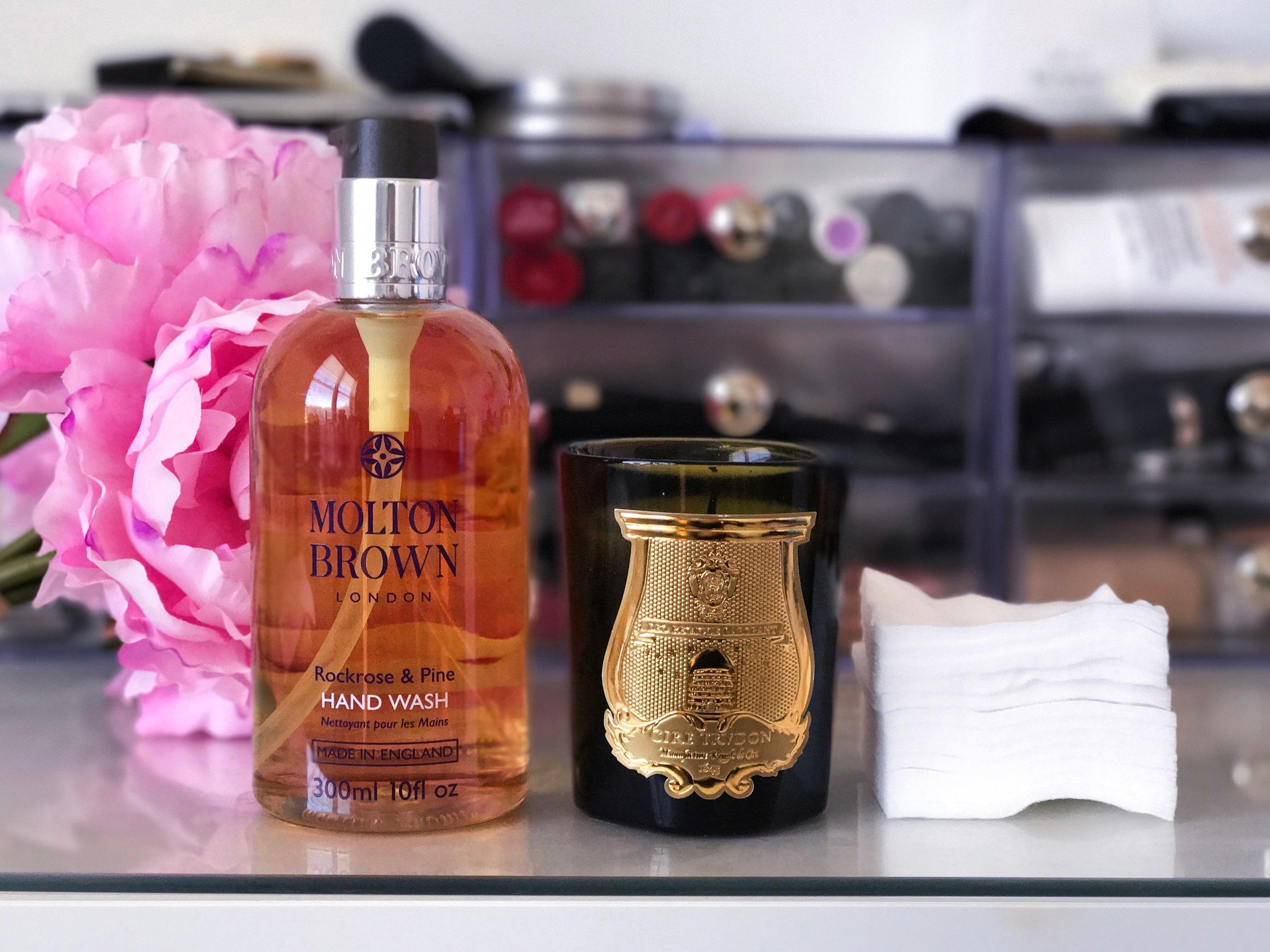 Molton Brown Rockrose & Pine Hand Wash, Cire Trudon Dada Candle, Shiseido Facial Cottons