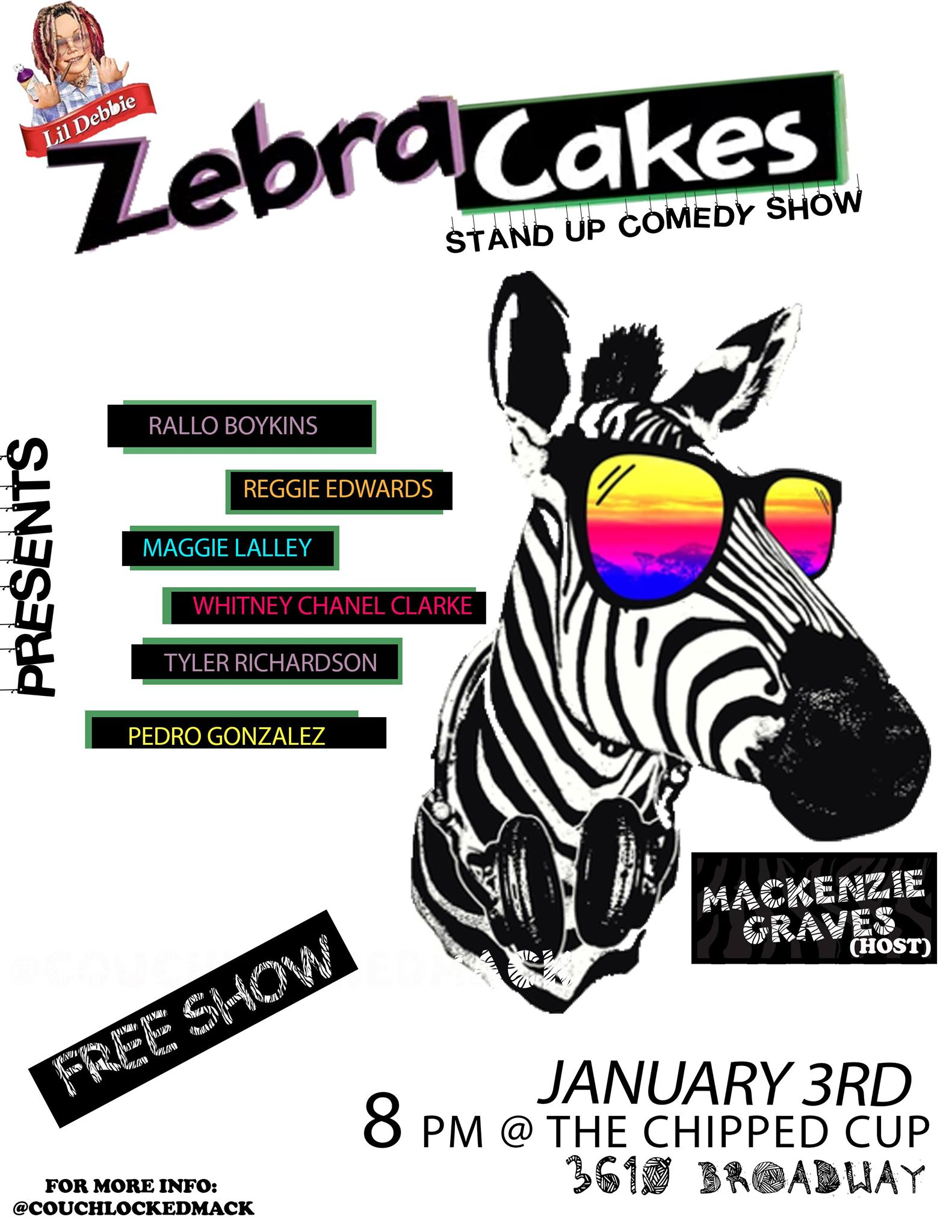 Zebra Cakes Thursday, Jan 3rd 8:oopm-9:3opm The Chipped Cup | 3610 Broadway | New York, NY 10012