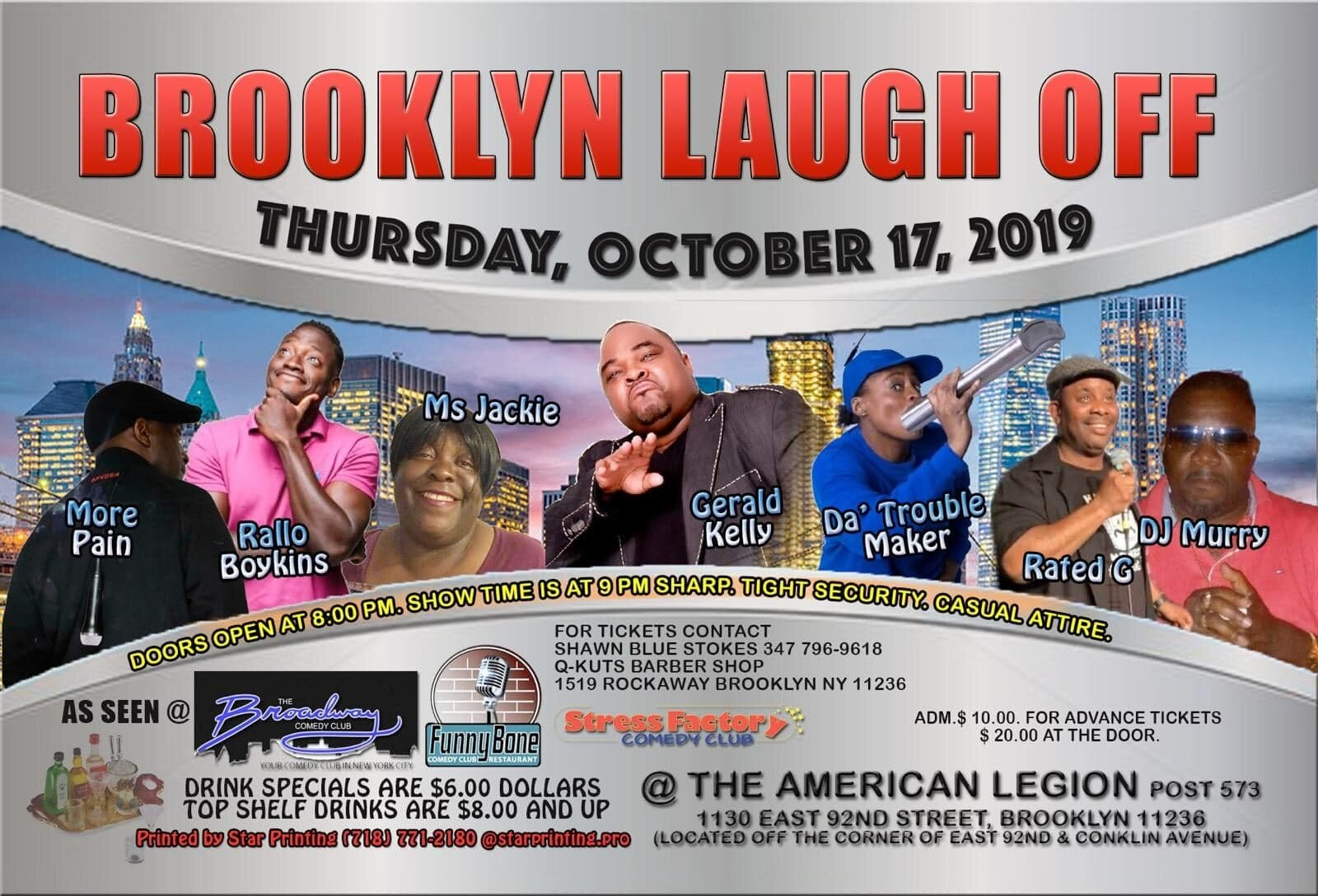 Brooklyn Laugh Off Thursday, Oct 17th 9:oopm-11:oopm The American Legion | 1130 East 92nd St. | Brooklyn, NY 11236