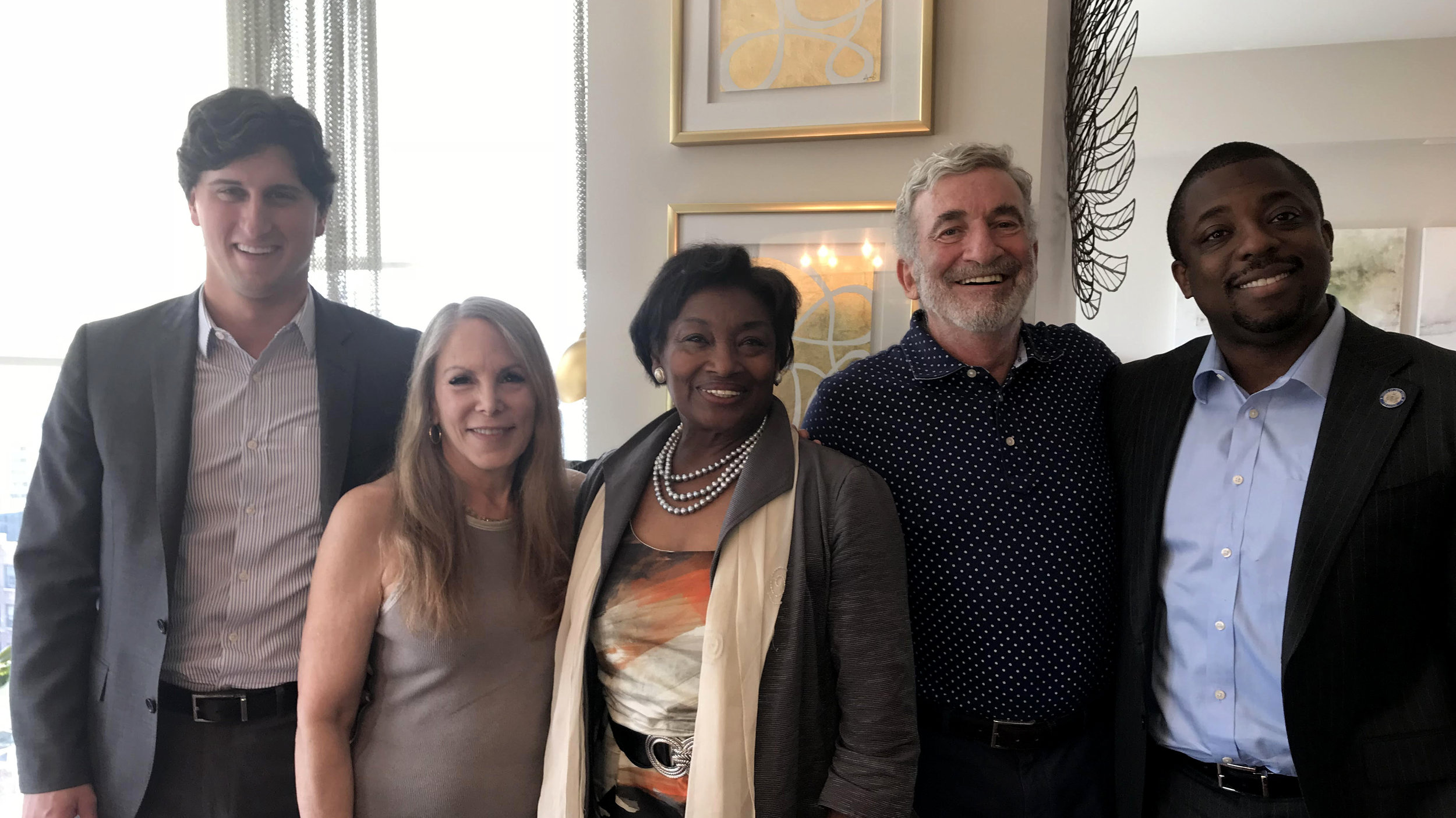 Aaron Migdol, Sheri Perl Migdol and Jerry Migdol are picture with New York State Senate leader Andrea Stewart Cousins and State Senator Brian Benjamin.