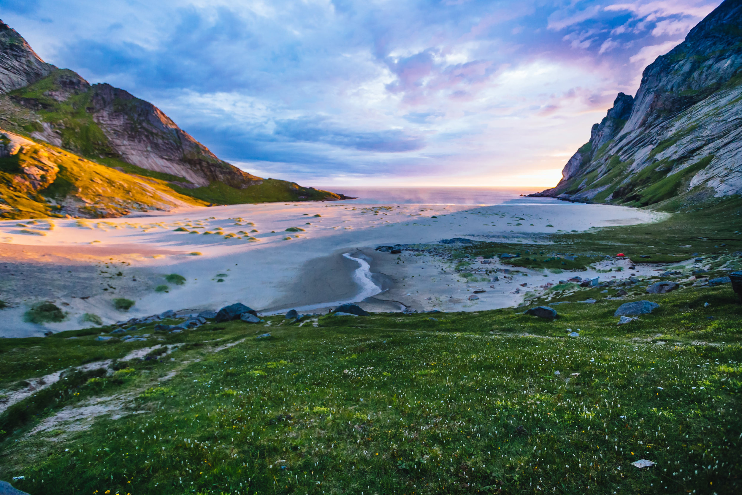Bunes midnight sun, Lofoten Islands, Norway. 2013