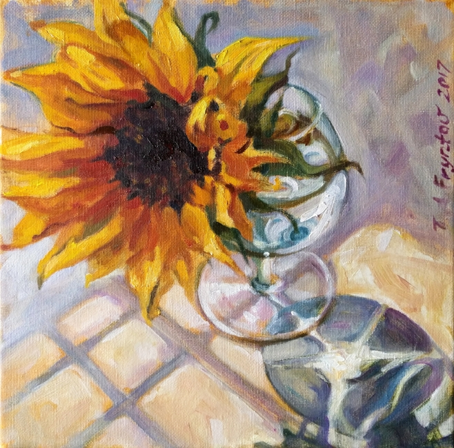 The Sunflower in a Sunlit Glass Casted a Shadow with Joyful Reflections