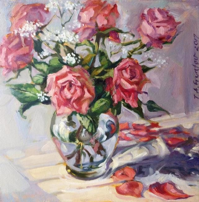 The Sunlit Pink Roses closeup