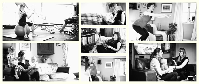 collage of images showing pregnant women working out, relaxing at home and meeting friends