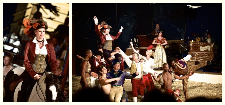 Nell Gifford and the cast of Giffords Circus 2013