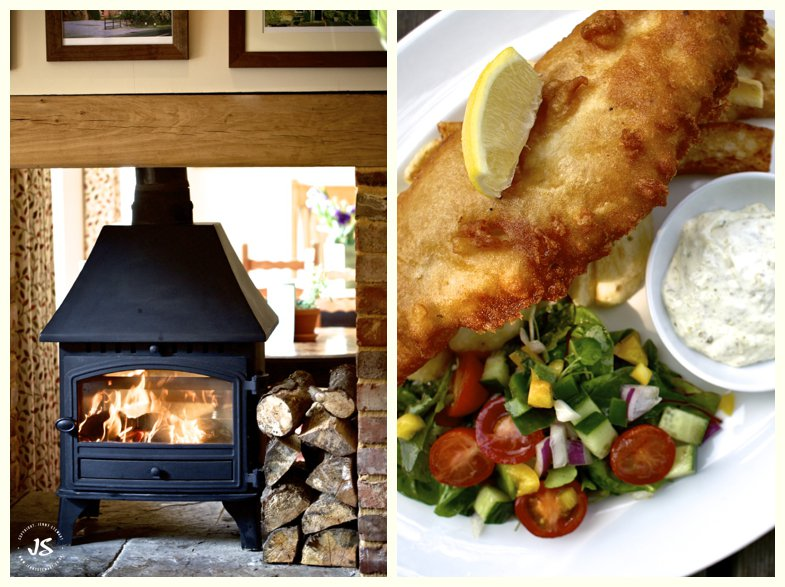The Royal Exchange Hartbury log burner and fish and chips