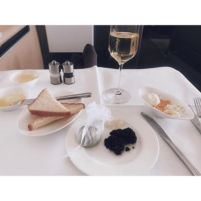#fbf to that one time i had champagne and caviar on a plane 😂