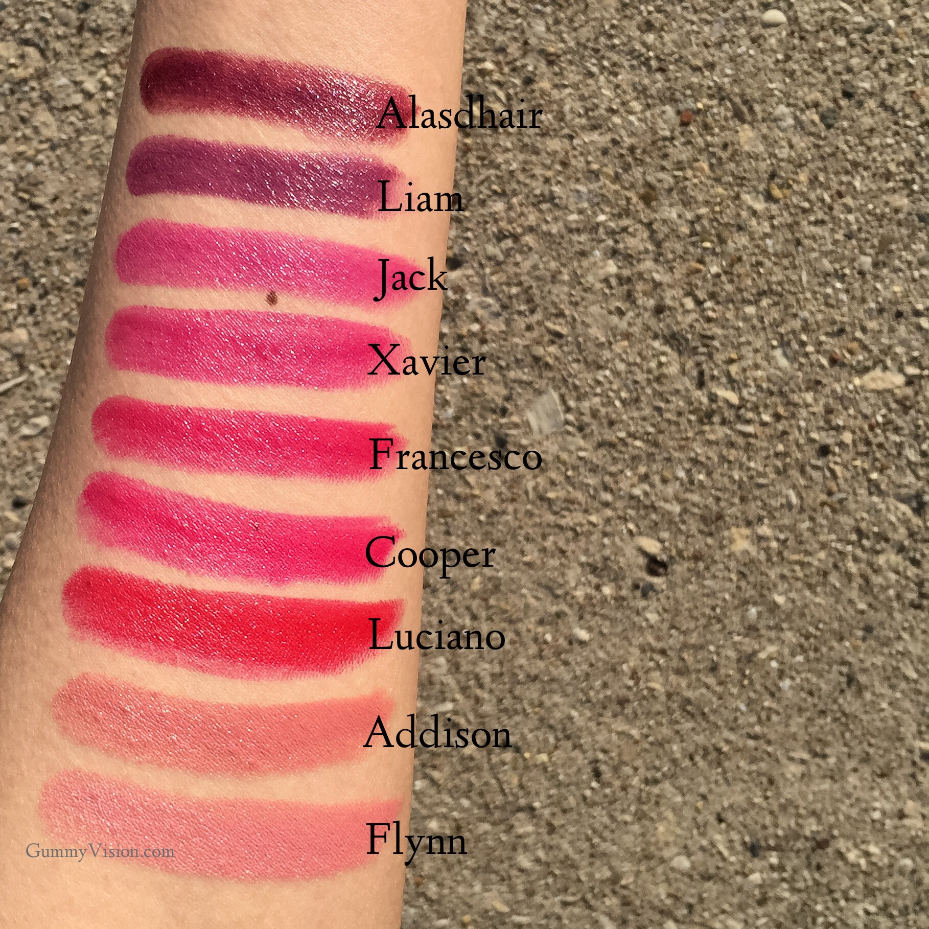 Outdoor Winter sunlight swatches:  Tom Ford Lips & Boys in Flynn, Addison, Luciano, Cooper, Francesco, Xavier, Jack, Liam, Alasdhair - www.gummyvision.com