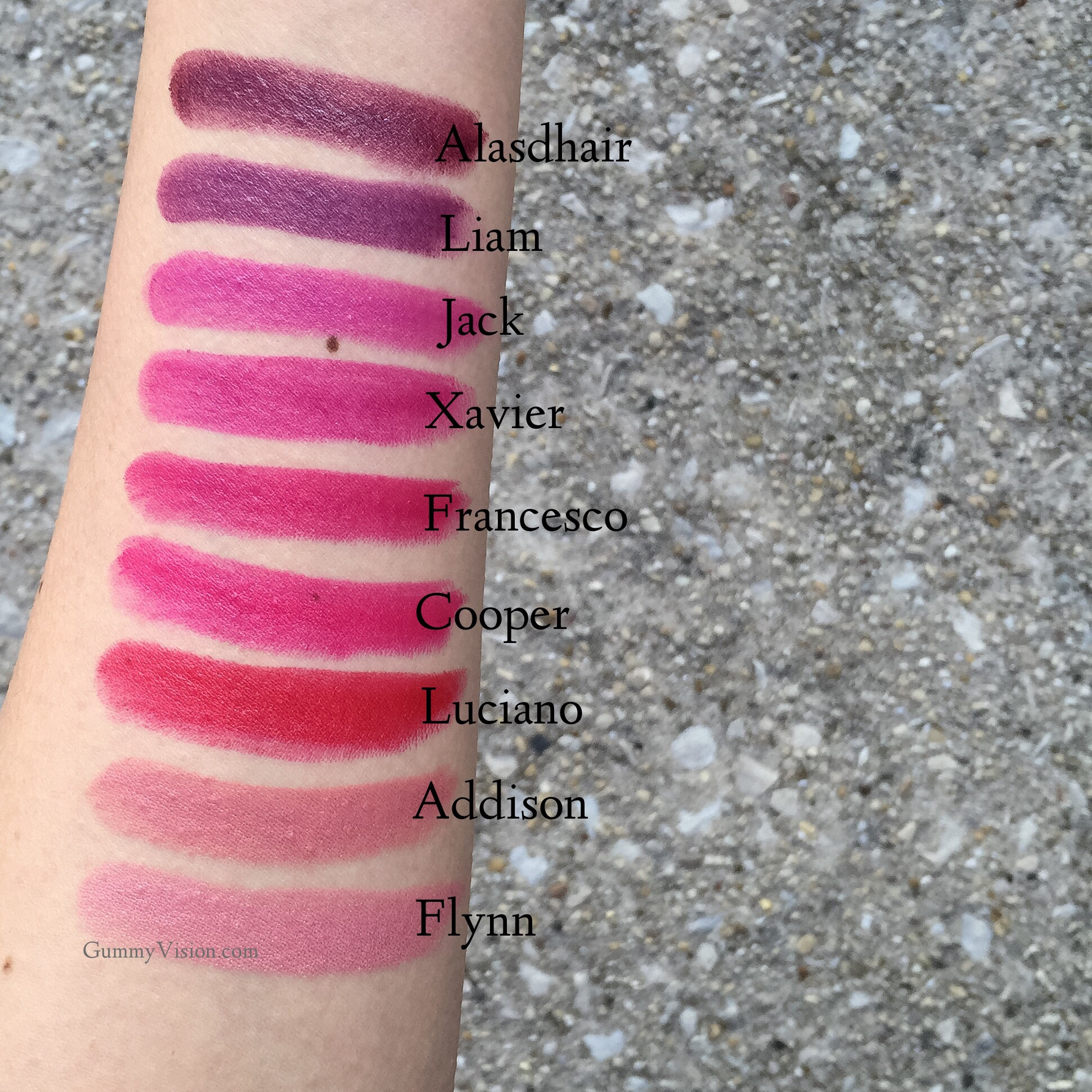 Outdoor Winter shade swatches:  Tom Ford Lips & Boys in Flynn, Addison, Luciano, Cooper, Francesco, Xavier, Jack, Liam, Alasdhair - www.gummyvision.com