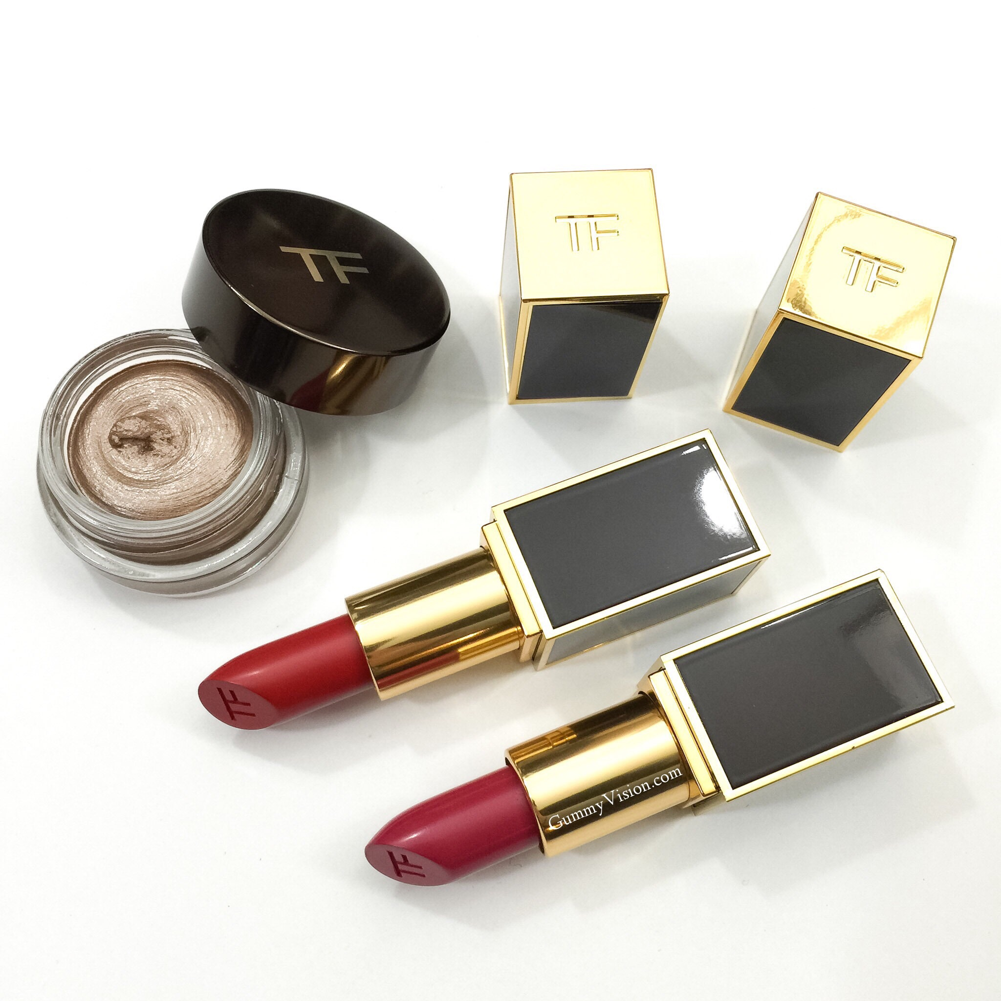 Tom Ford Fall 2014: LE Platinum Cream Color For Eyes, Lip Color Matte in Ruby Rush (top) & Plum Lush - www.gummyvision.com