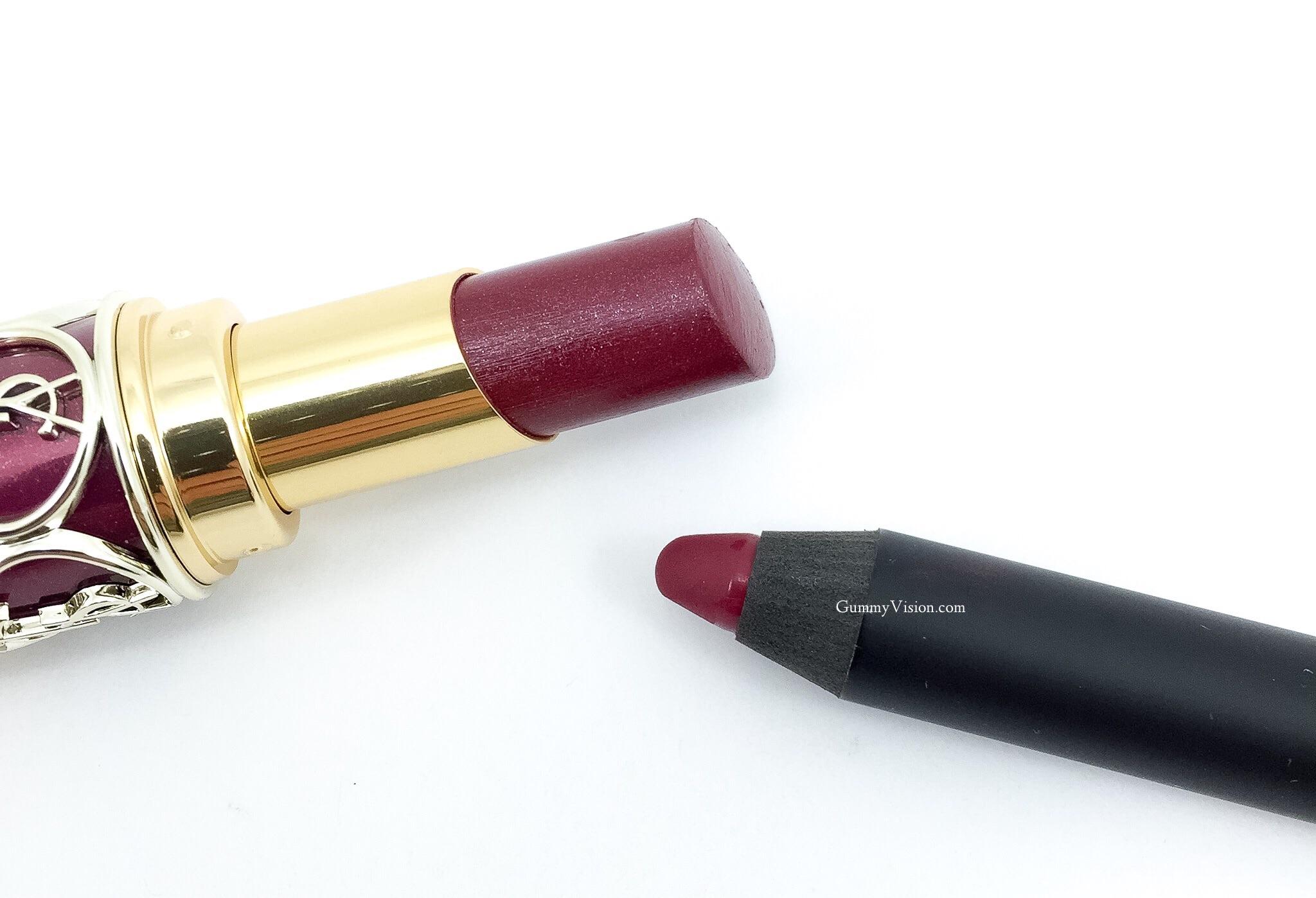 NARS Velvet Matte Lip Pencil In Damned + YSL Rouge Volupte Shine In 2 Pourpre Intouchable - www.gummyvision.com