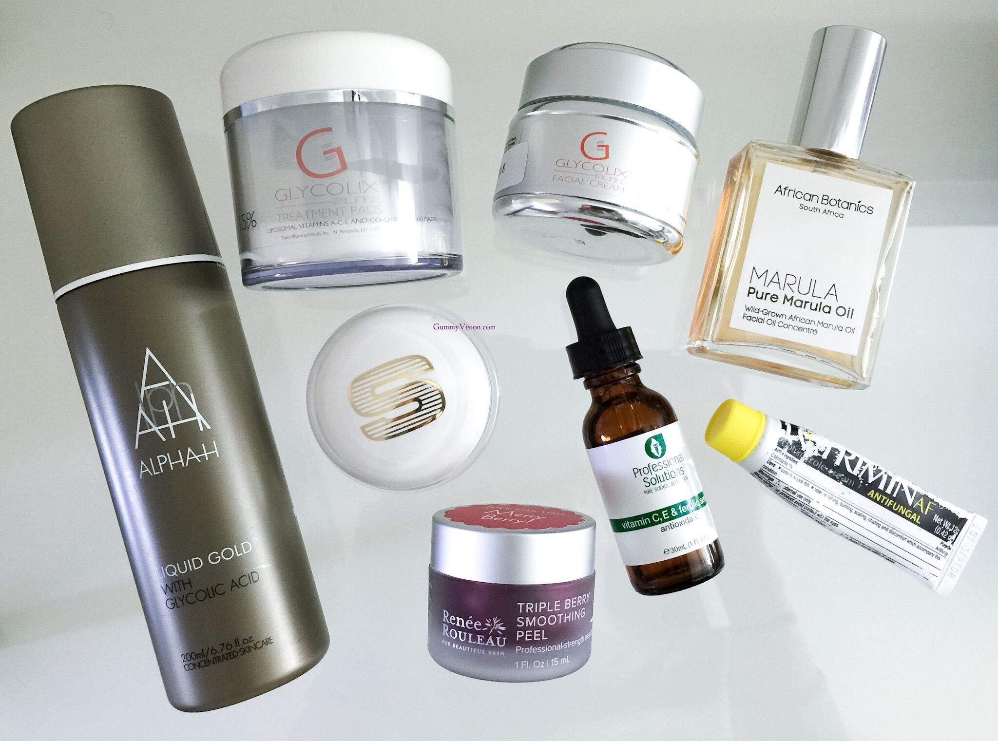 2014 Skincare Favorites - www.gummyvision.com - Alpha H Liquid Gold, Glycolix Elite 15% Treatment Pads 15%, Professional Solutions Vitamin C,B,E & Ferulic Serum, African Botanics Pure Marula Oil, Lotrimin Antifungal, Renee Rouleau Triple Berry Smoothing Peel