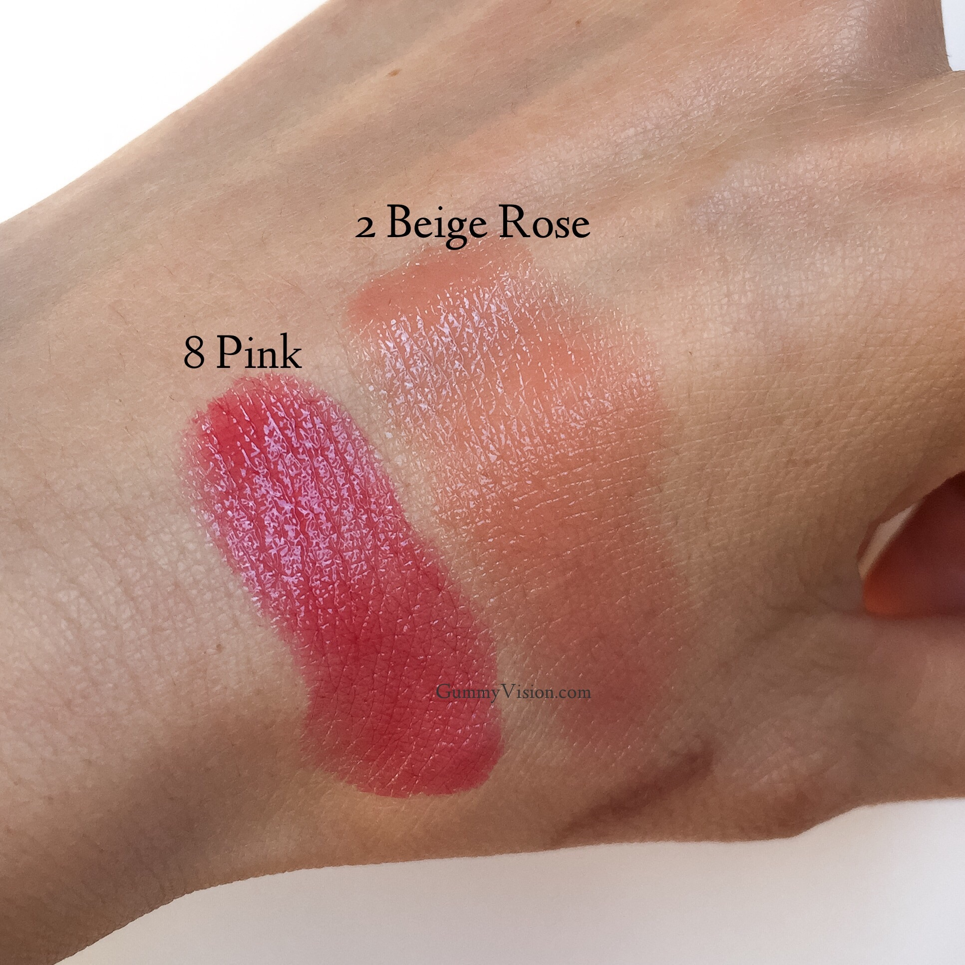 Swatched: Sisley Phyto Lip Gloss in 2 Beige Rose & 8 Pink - gummyvision.com