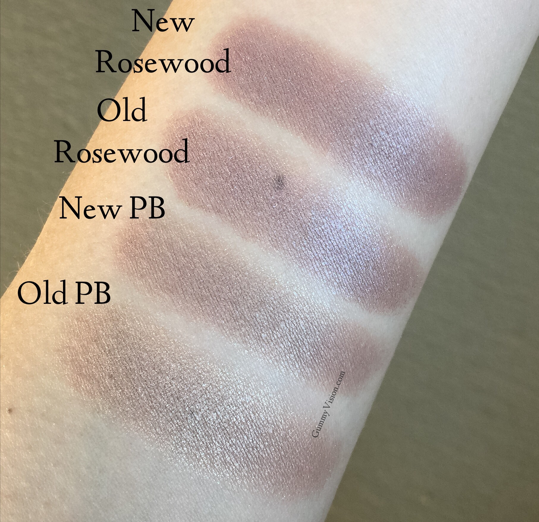 Shade. New Burberry Wet and Dry Silk Eyeshadows in Pale Barley and Rosewood vs. the old Pale Barley and Rosewood- gummyvision.com