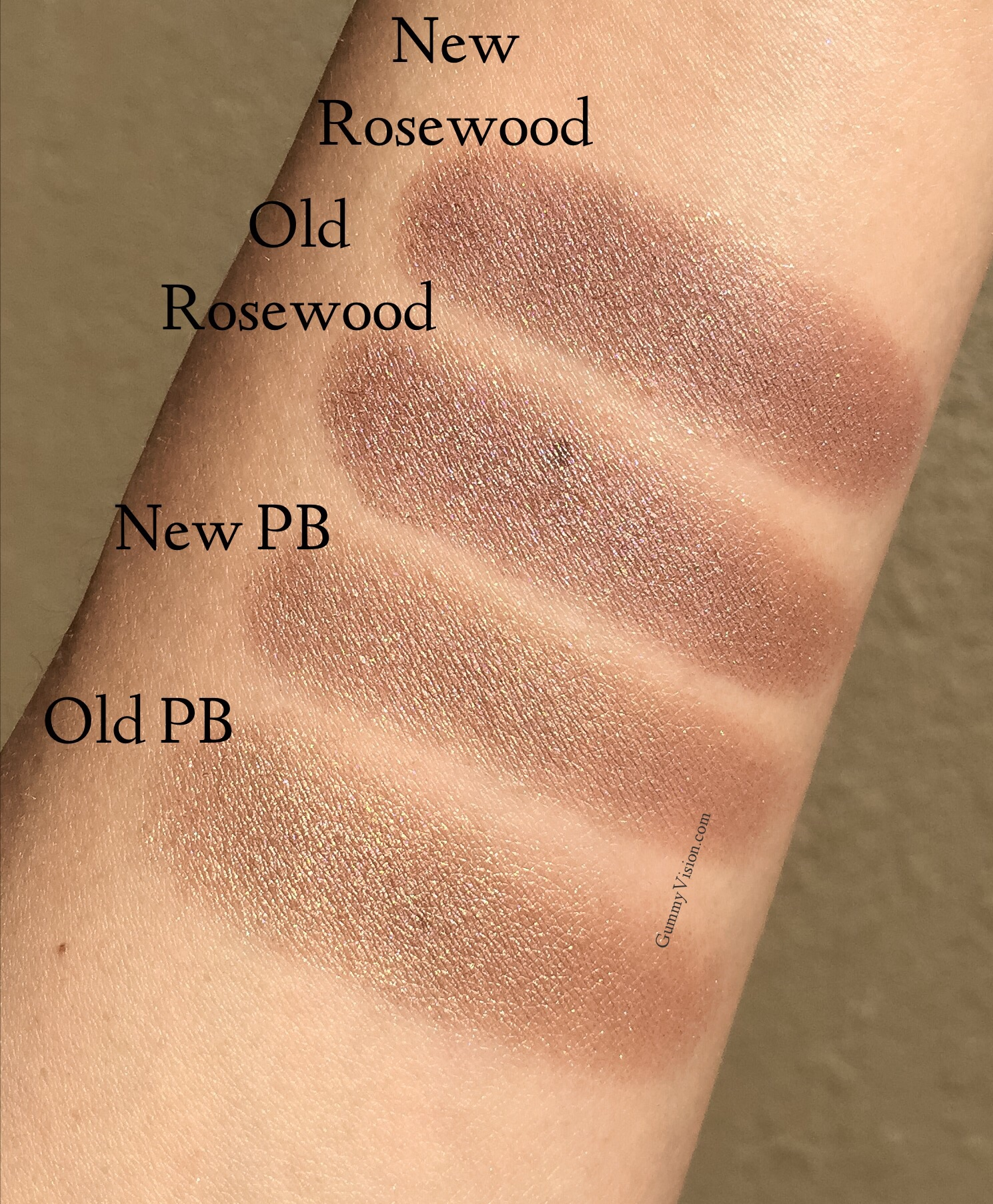 Sunlight. New Burberry Wet and Dry Silk Eyeshadows in Pale Barley and Rosewood vs. the old Pale Barley and Rosewood- gummyvision.com