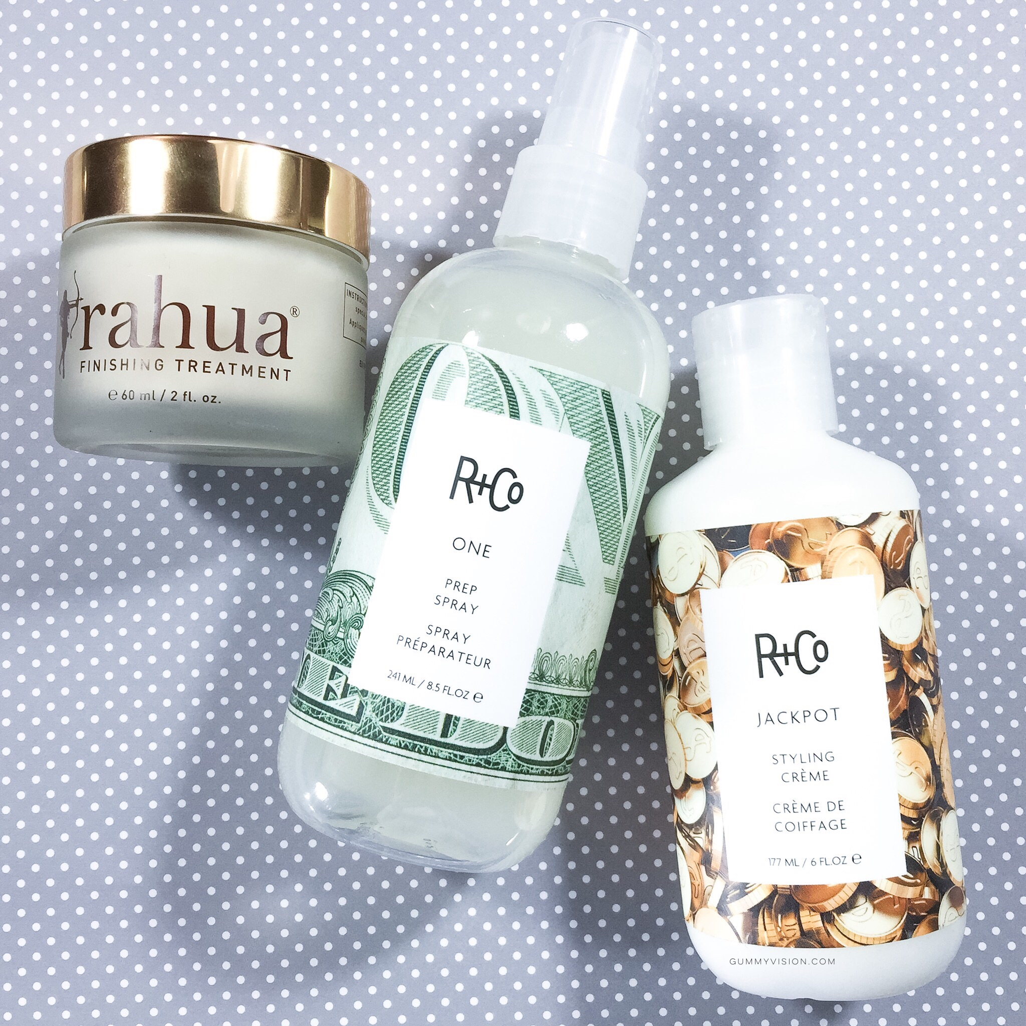 Rahua Finishing Treatment, R+Co One Prep Spray, R+Co Jackpot Styling Cream - gummyvision.com