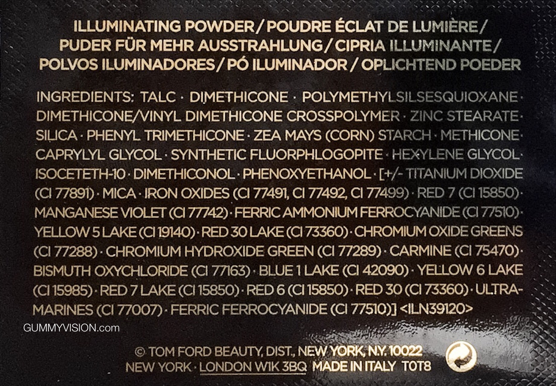 Tom Ford Illuminating Powder in Translucent Pink ingredients - gummyvision.com