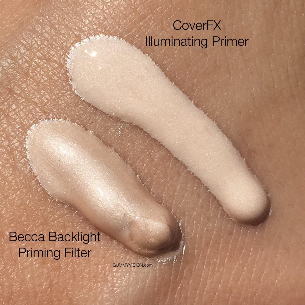 BECCA Backlight Priming Filter  color vs. CoverFX Illuminating Primer color - gummyvision.com